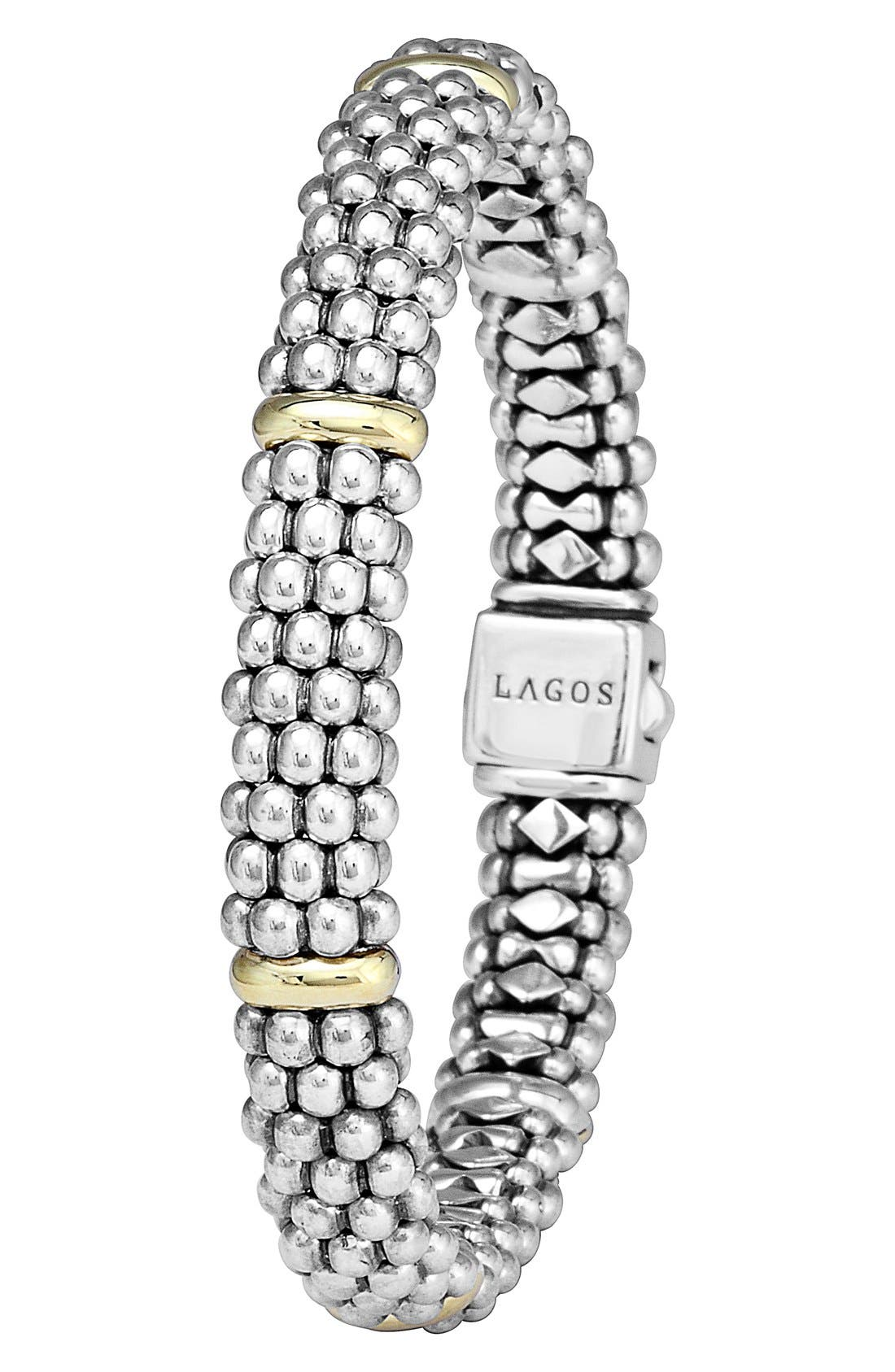 Caviar Rope Bracelet,                             Alternate thumbnail 3, color,                             SILVER/ GOLD