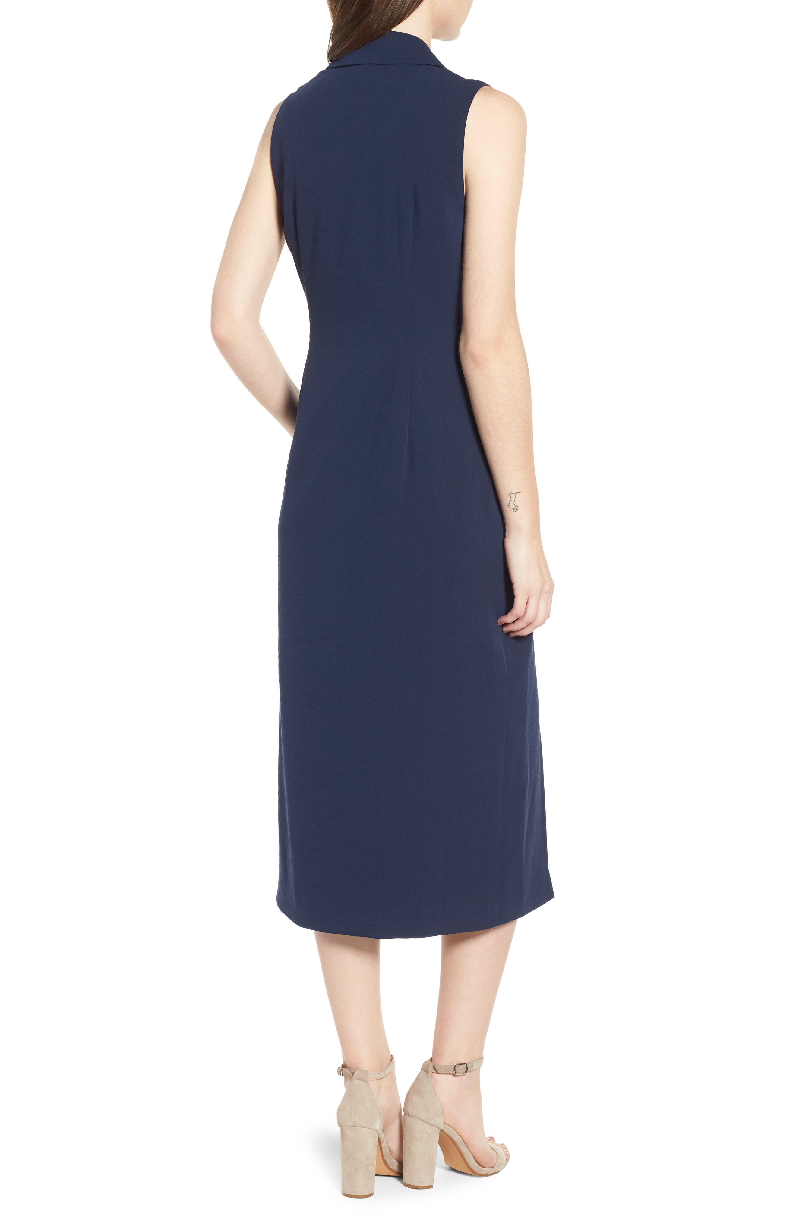 Brigitte Midi Dress,                             Alternate thumbnail 2, color,                             NAVY