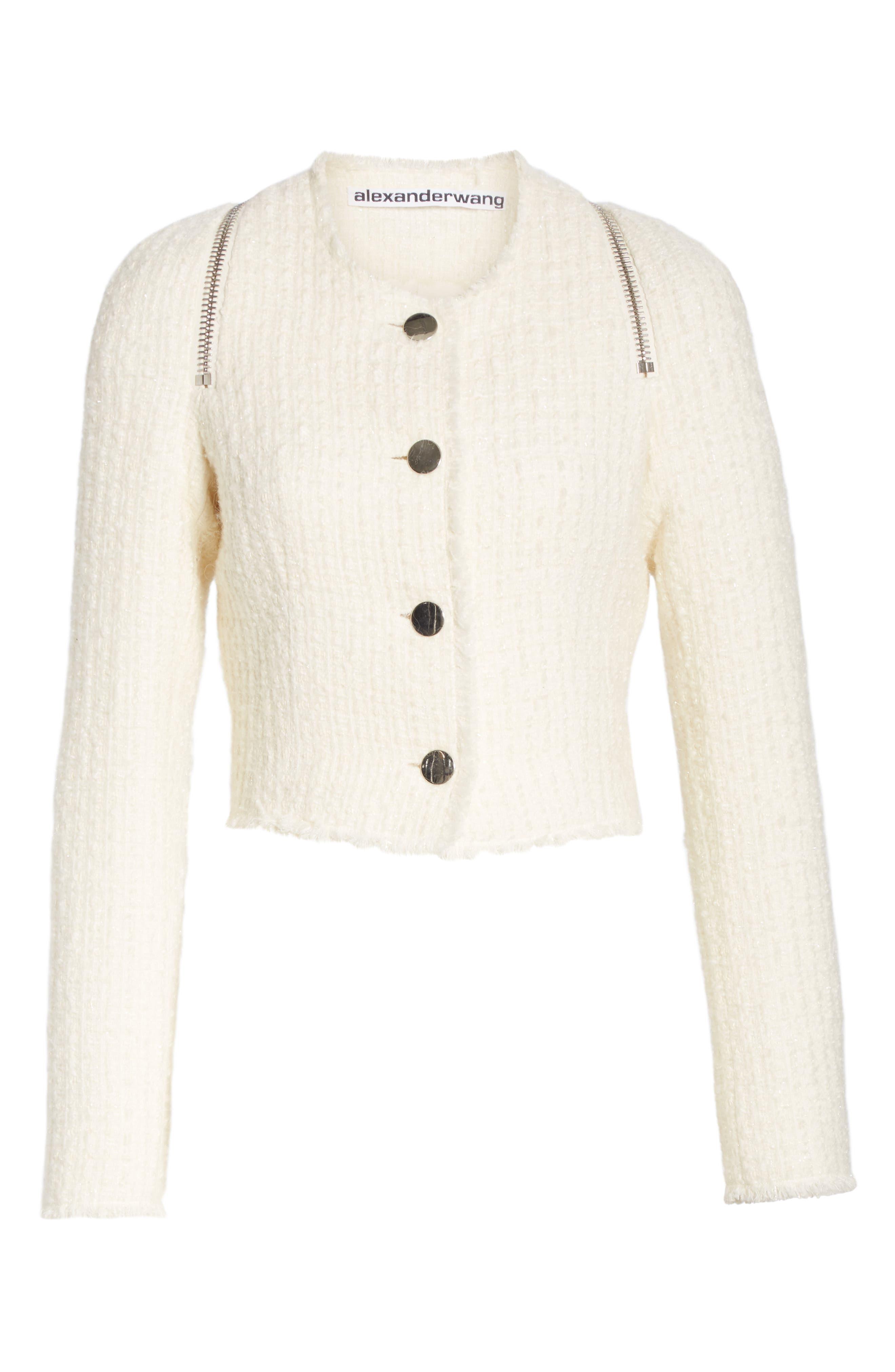 ALEXANDER WANG,                             Zip Detail Tweed Jacket,                             Alternate thumbnail 6, color,                             IVORY