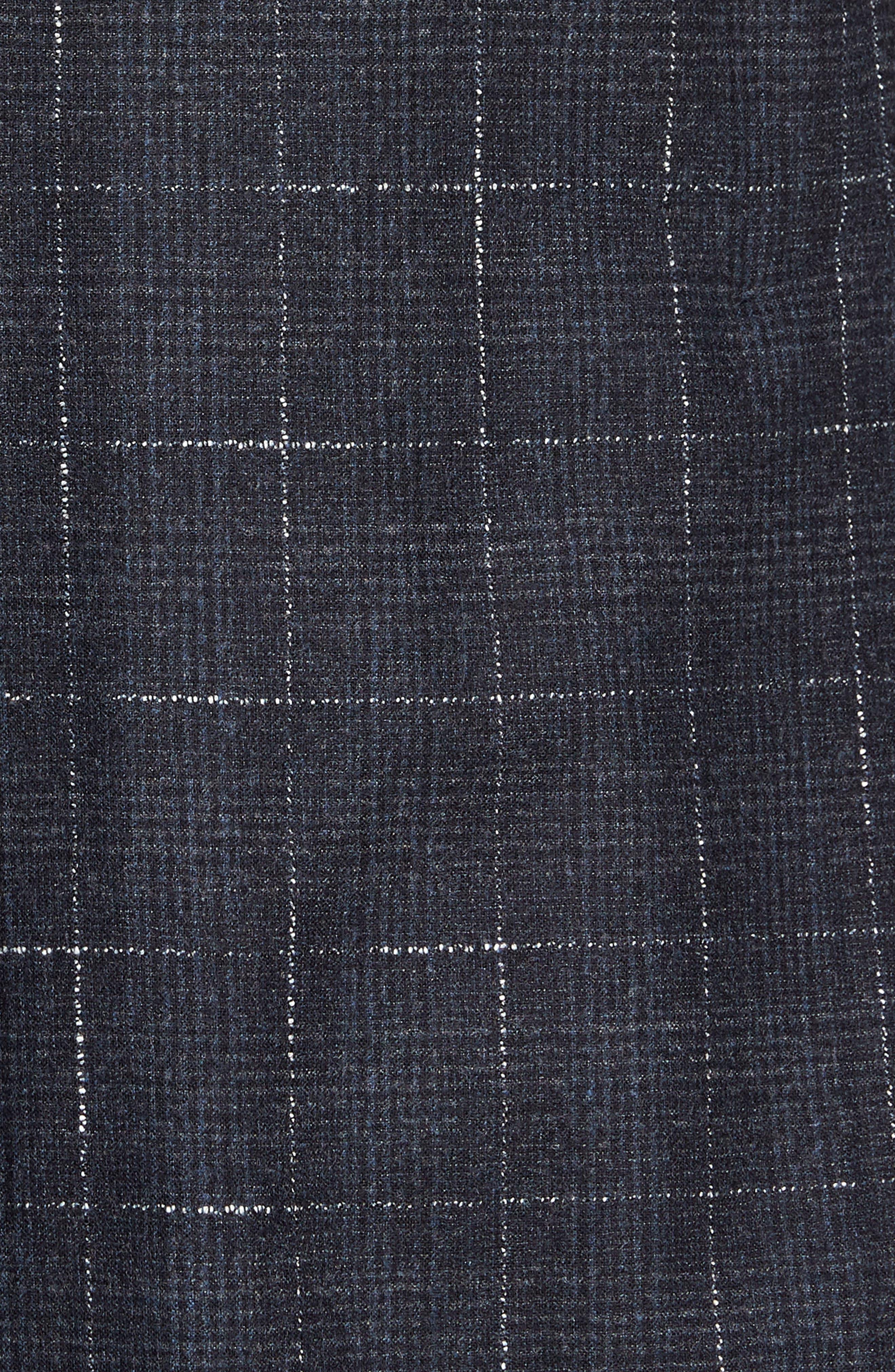 Trim Fit Stretch Plaid Wool Sport Coat,                             Alternate thumbnail 6, color,                             NAVY