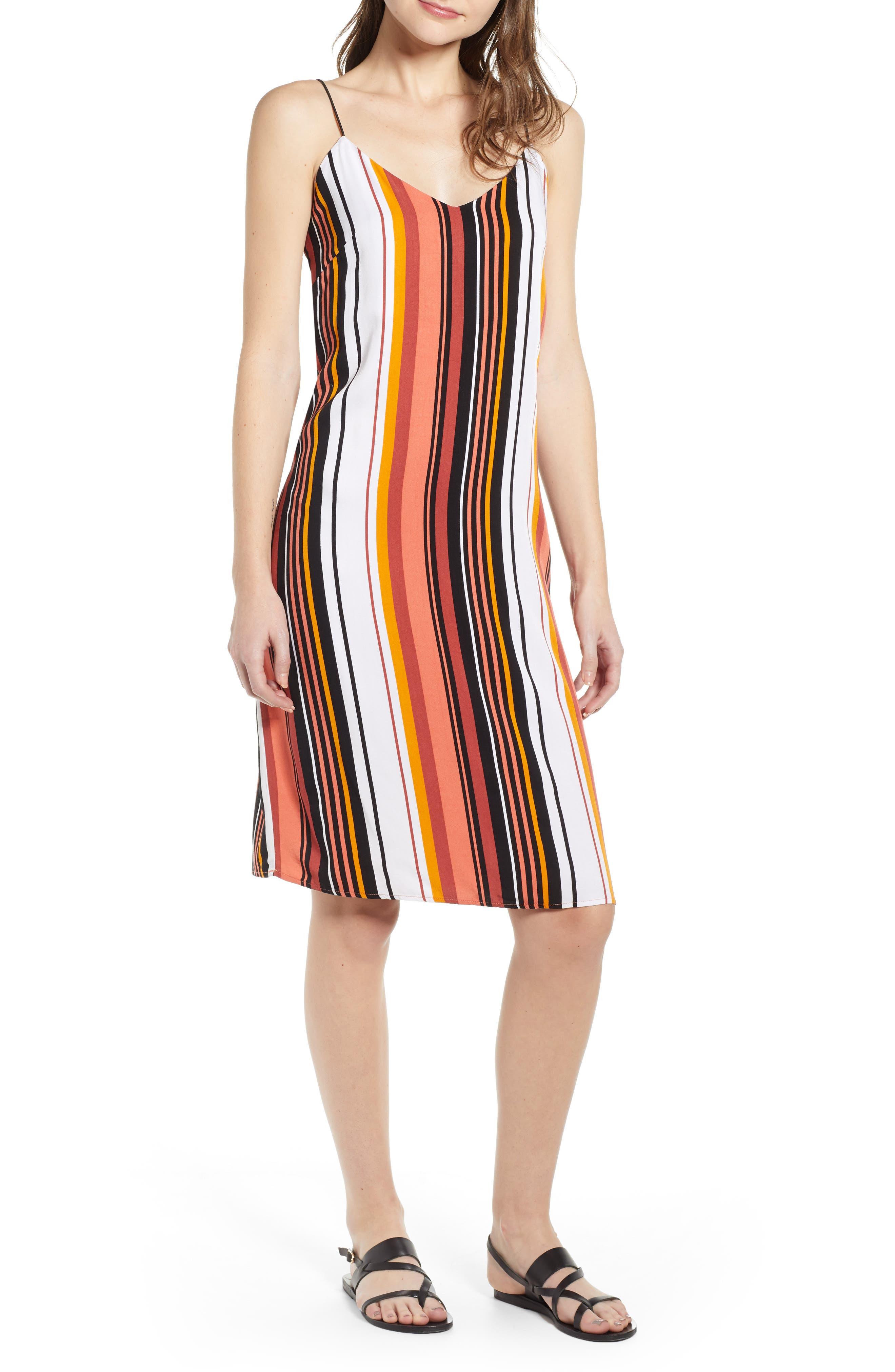 Volcom Shell Shocked Stripe Dress, Coral