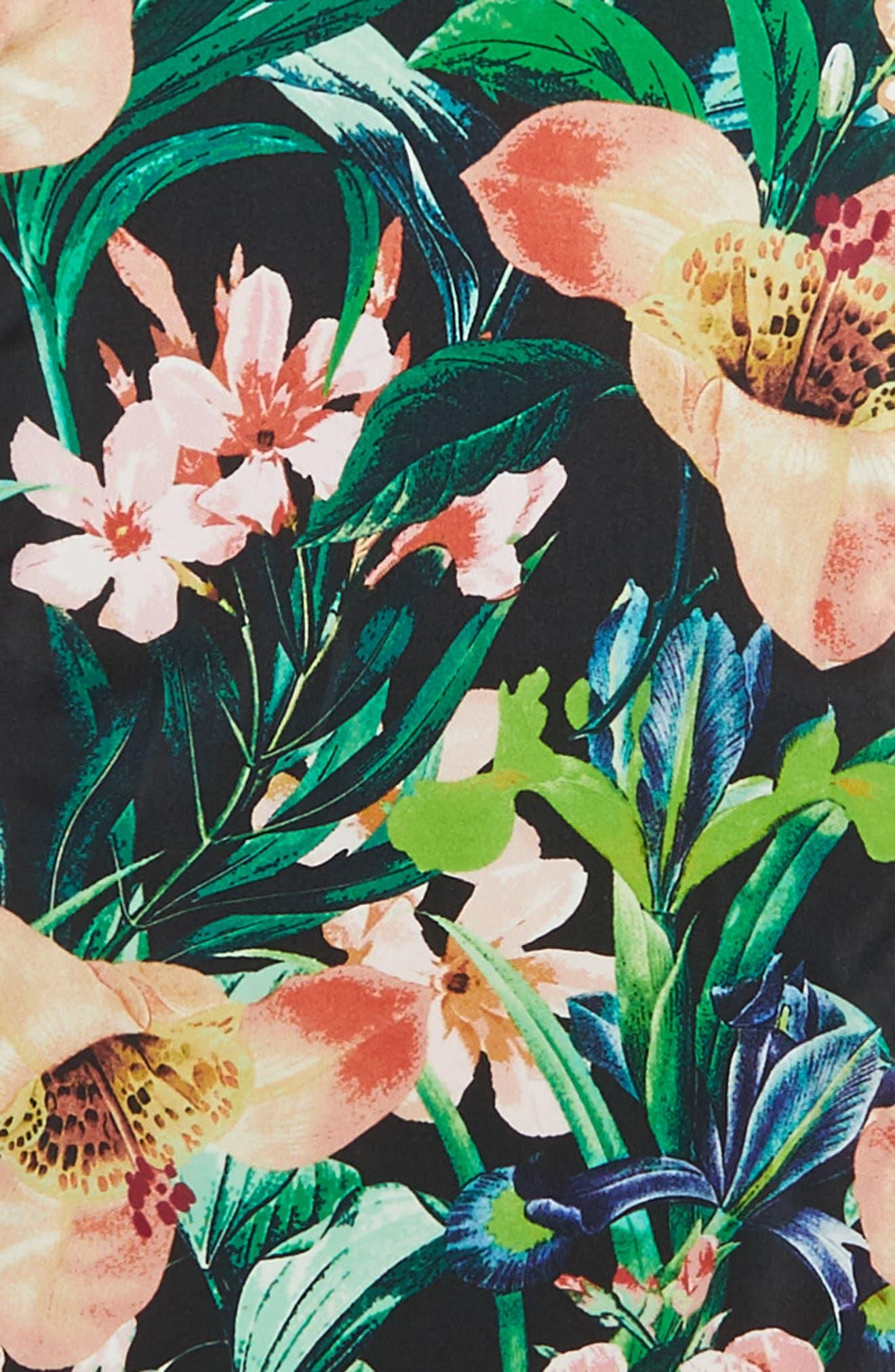 Tropic Floral Silk Scarf,                             Alternate thumbnail 4, color,                             001