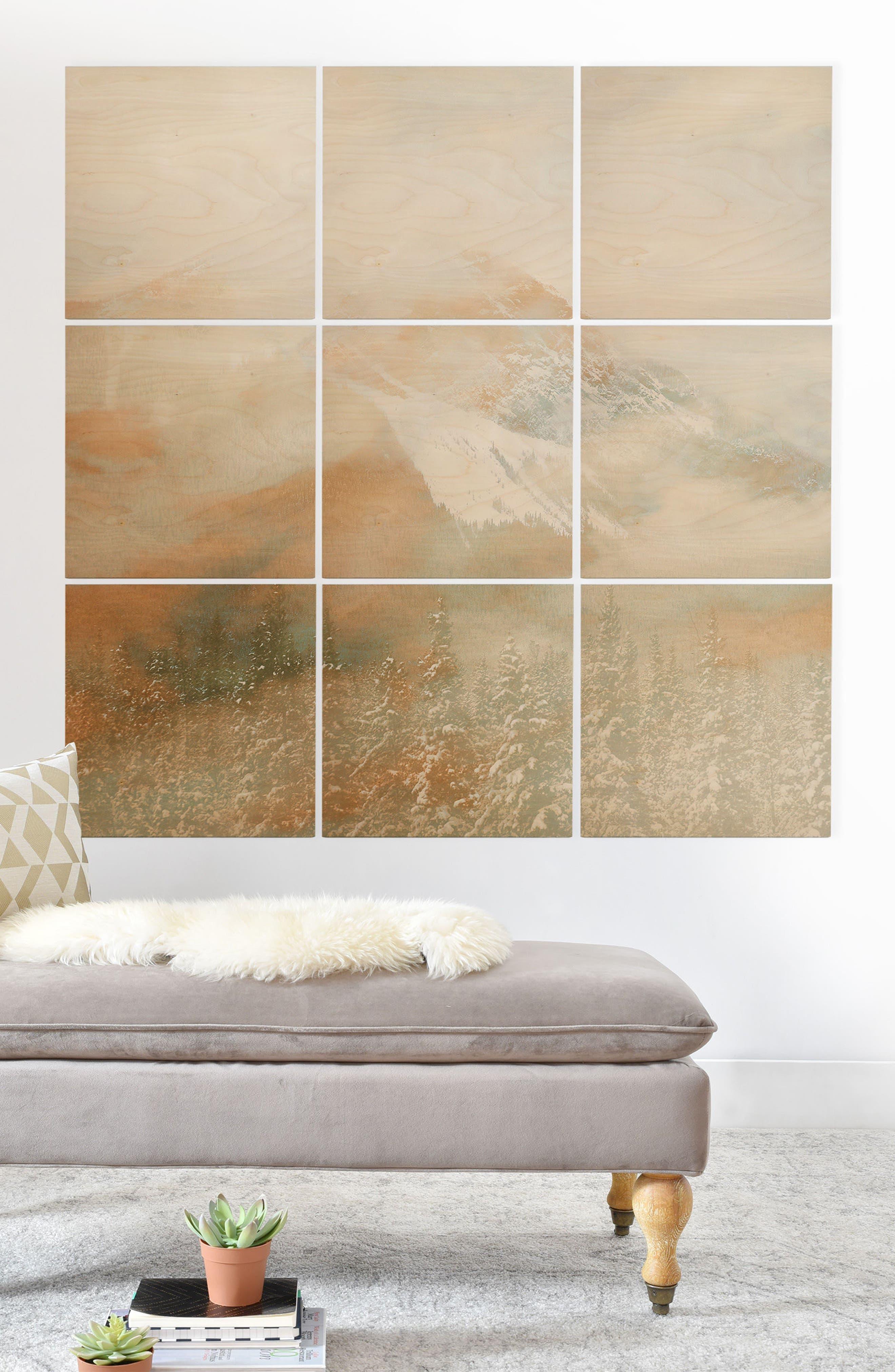 Golden Banff 9-Piece Wood Wall Mural,                             Alternate thumbnail 2, color,                             GRAY/ GOLD