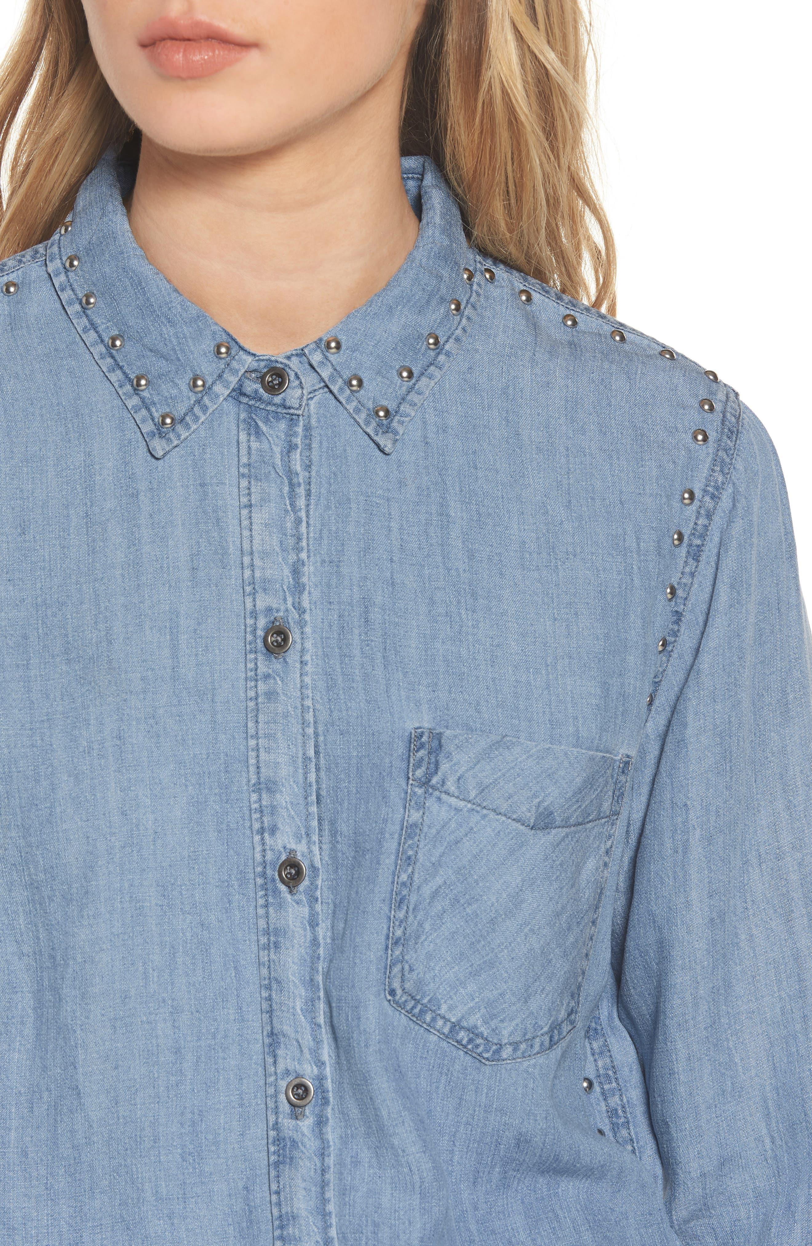 Ingrid Studded Shirt,                             Alternate thumbnail 4, color,                             493