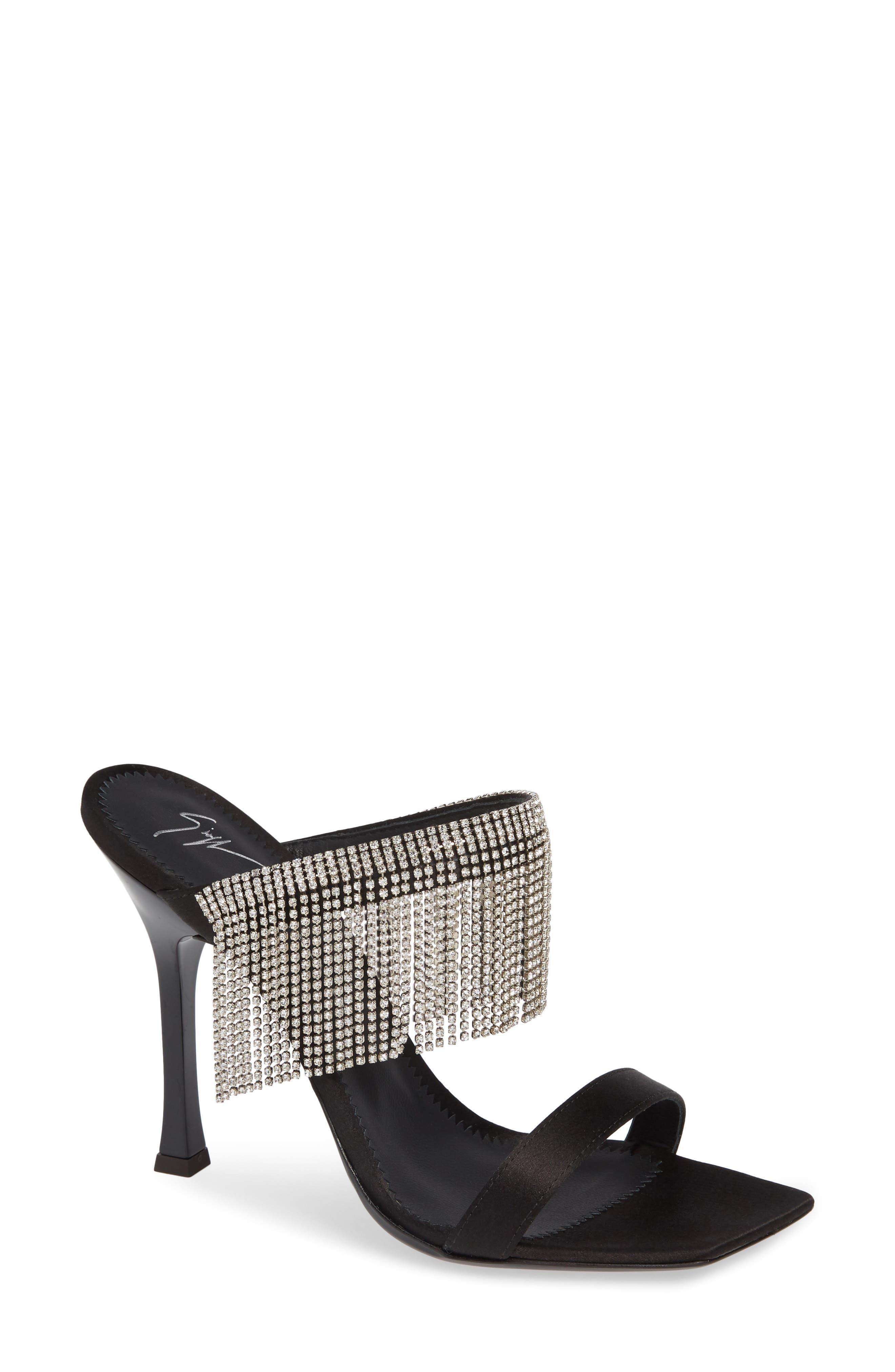 Swarovski Crystal Fringe Sandal,                         Main,                         color, BLACK