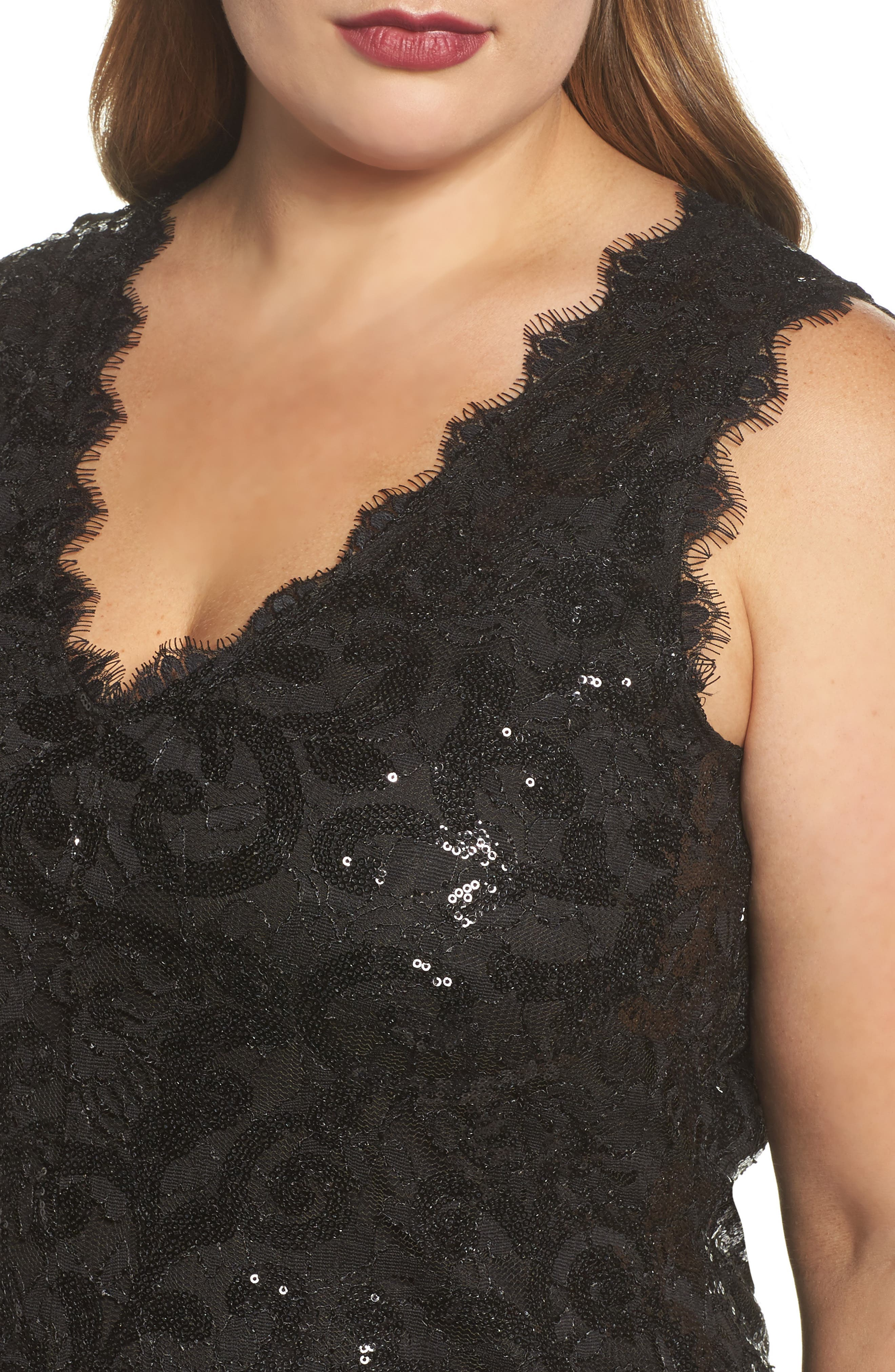 Sequin Lace Party Dress,                             Alternate thumbnail 4, color,                             001