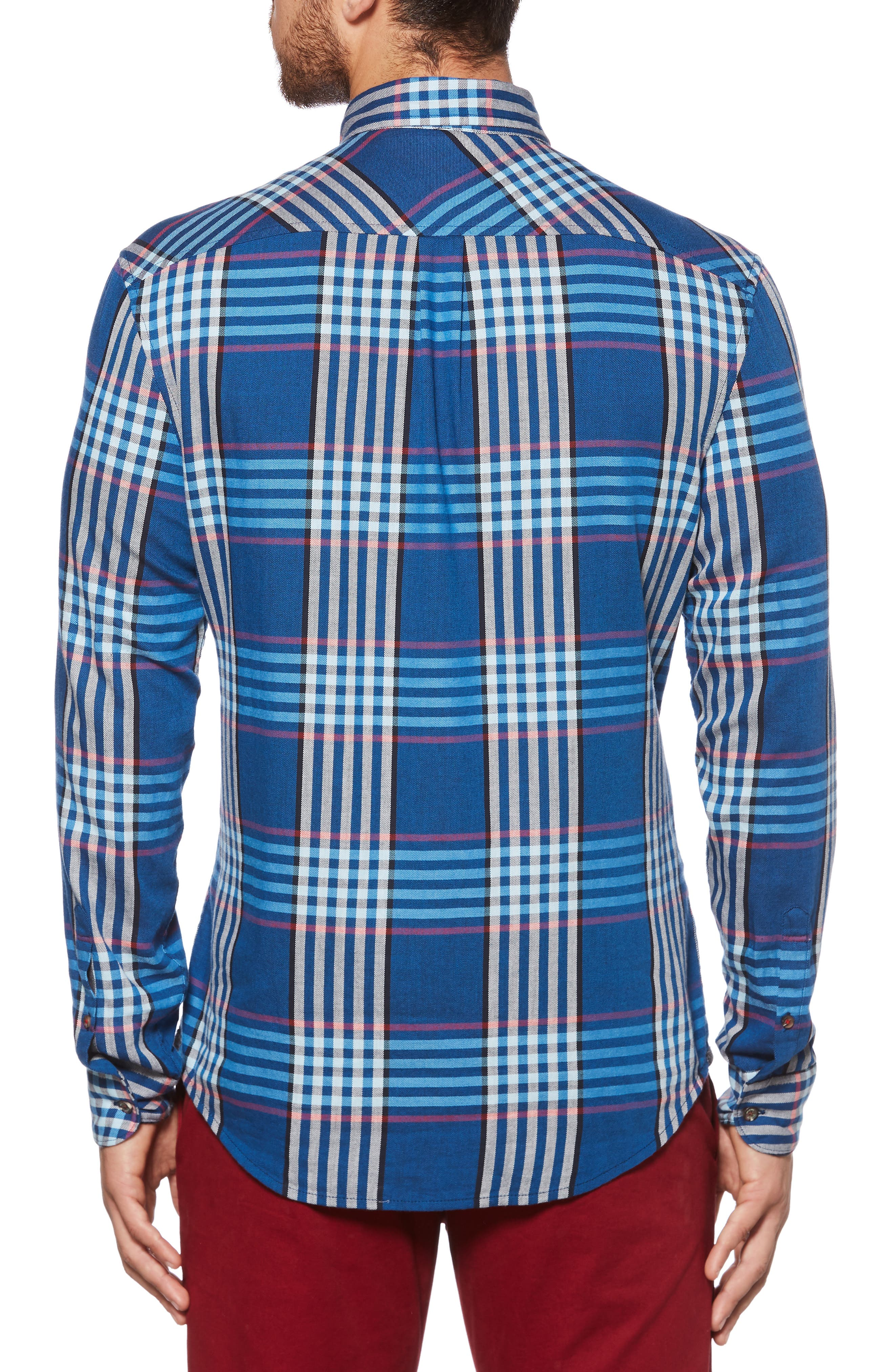 Plaid Flannel Sport Shirt,                             Alternate thumbnail 2, color,                             DARK SAPPHIRE