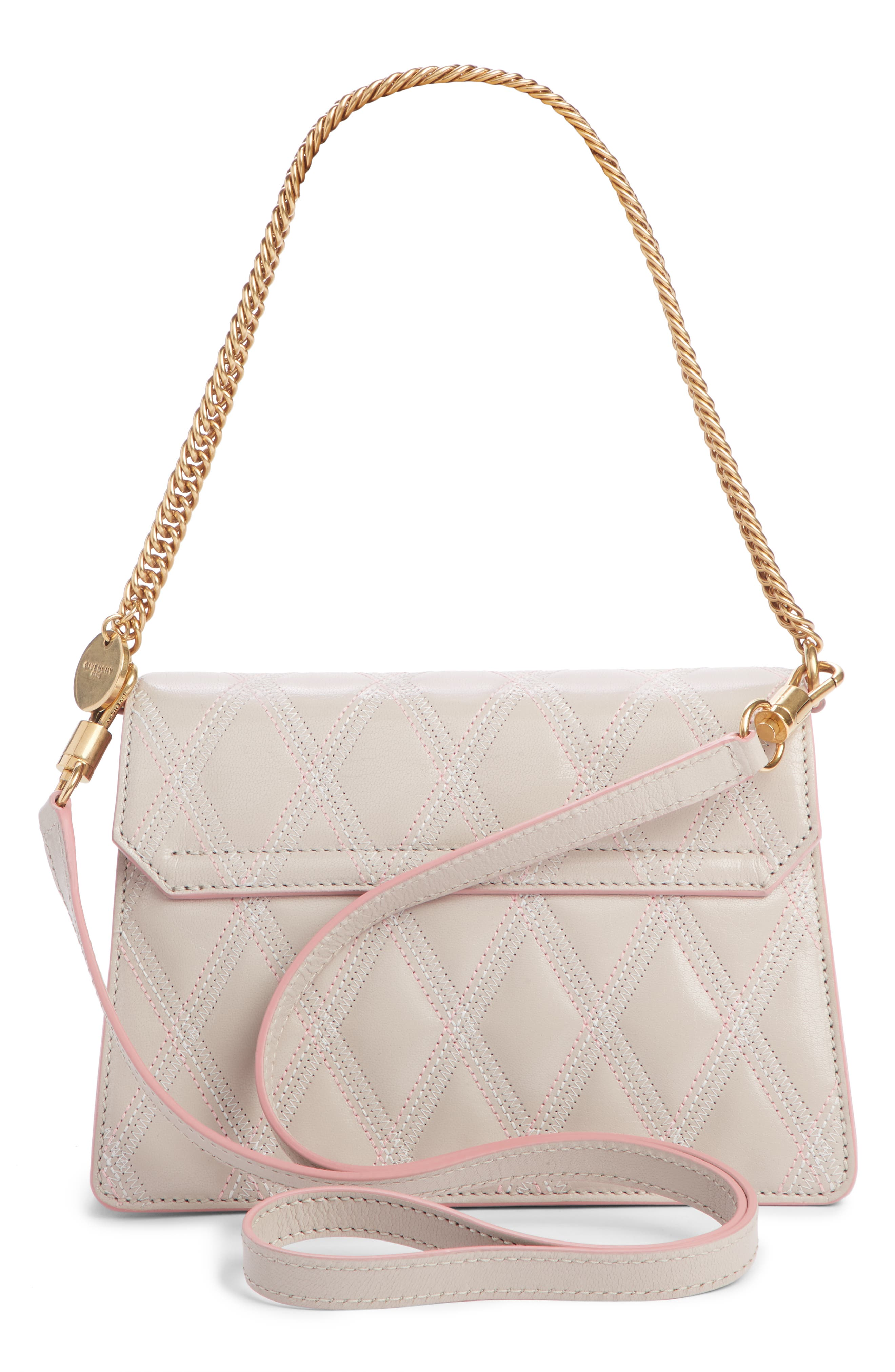 Small GV3 Diamond Quilted Leather Crossbody Bag,                             Alternate thumbnail 3, color,                             PALE PINK