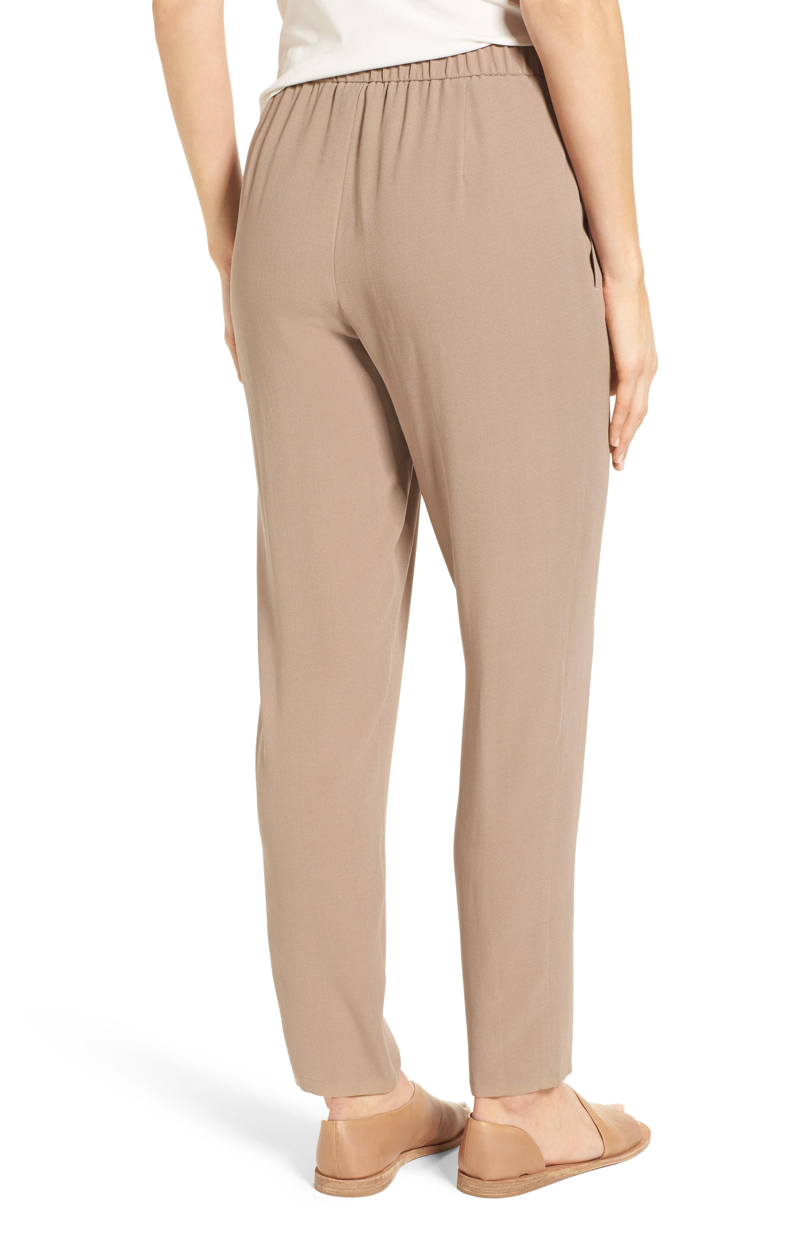 Slouchy Silk Crepe Ankle Pants,                             Alternate thumbnail 17, color,
