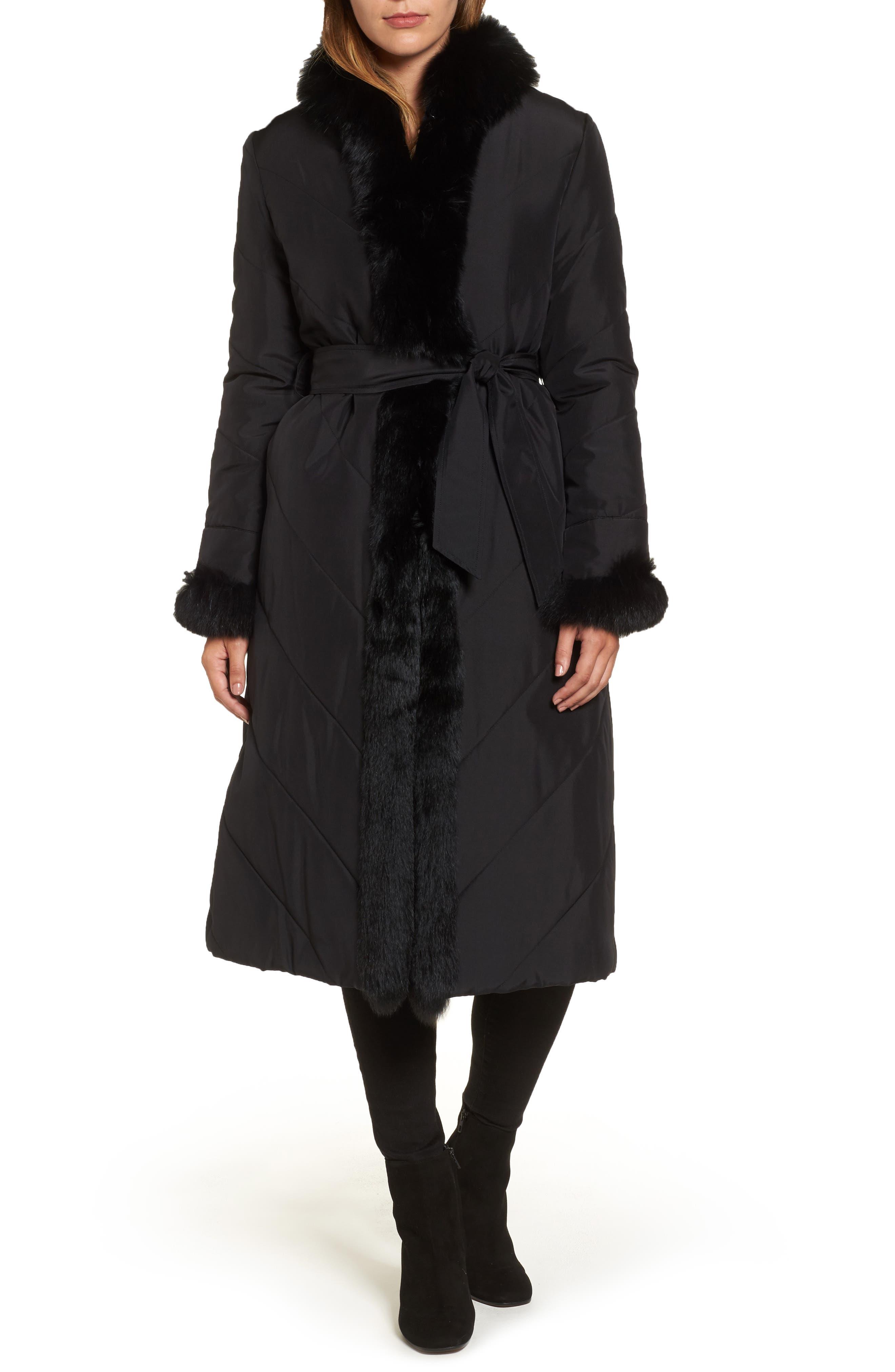 Couture Packable Silk Coat with Genuine Fox Fur & Genuine Rabbit Fur,                         Main,                         color, 001