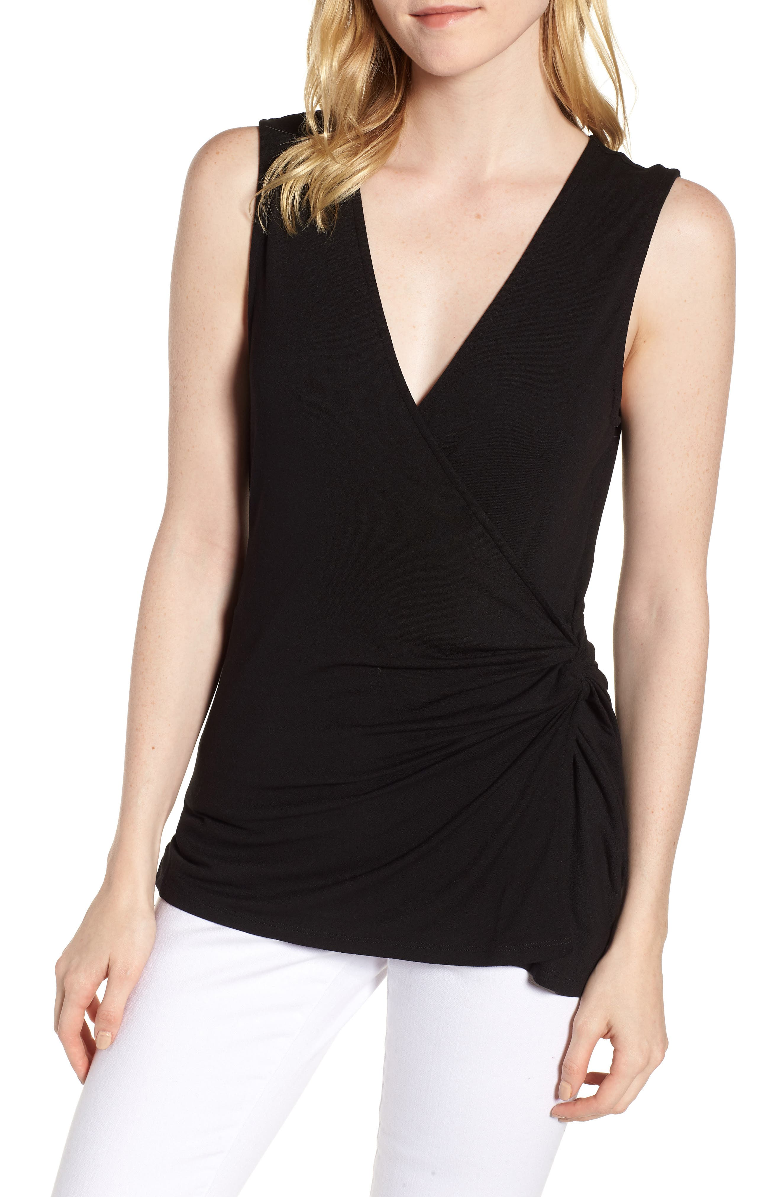 Side Knot Ruched Tank Top,                             Main thumbnail 1, color,                             001