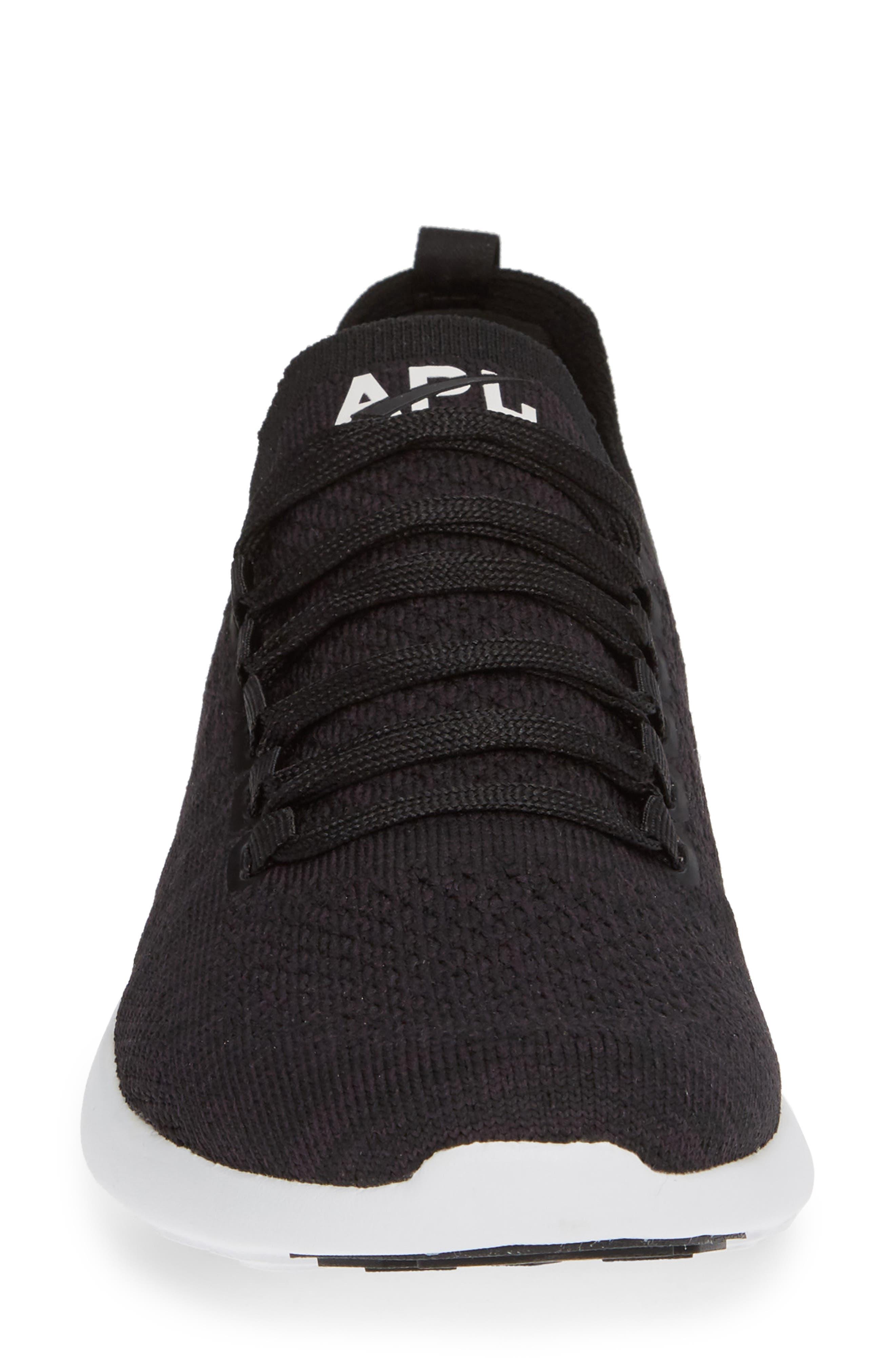 Techloom Breeze Knit Running Shoe,                             Alternate thumbnail 4, color,                             BLACK/ BLACK/ WHITE