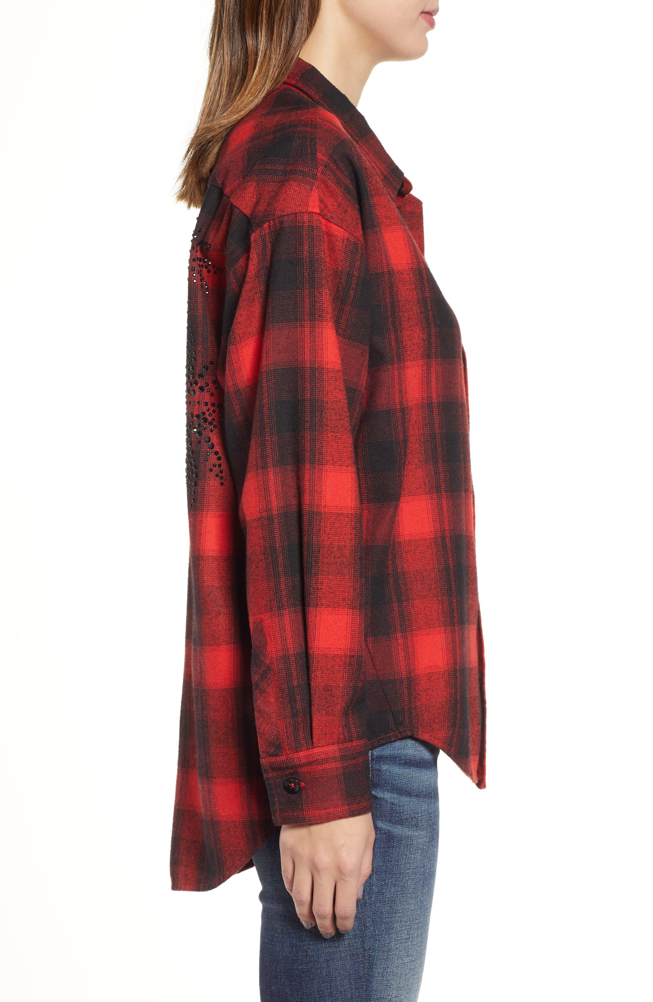 Plaid Embellished Oversize Shirt,                             Alternate thumbnail 3, color,                             RED/ BLACK