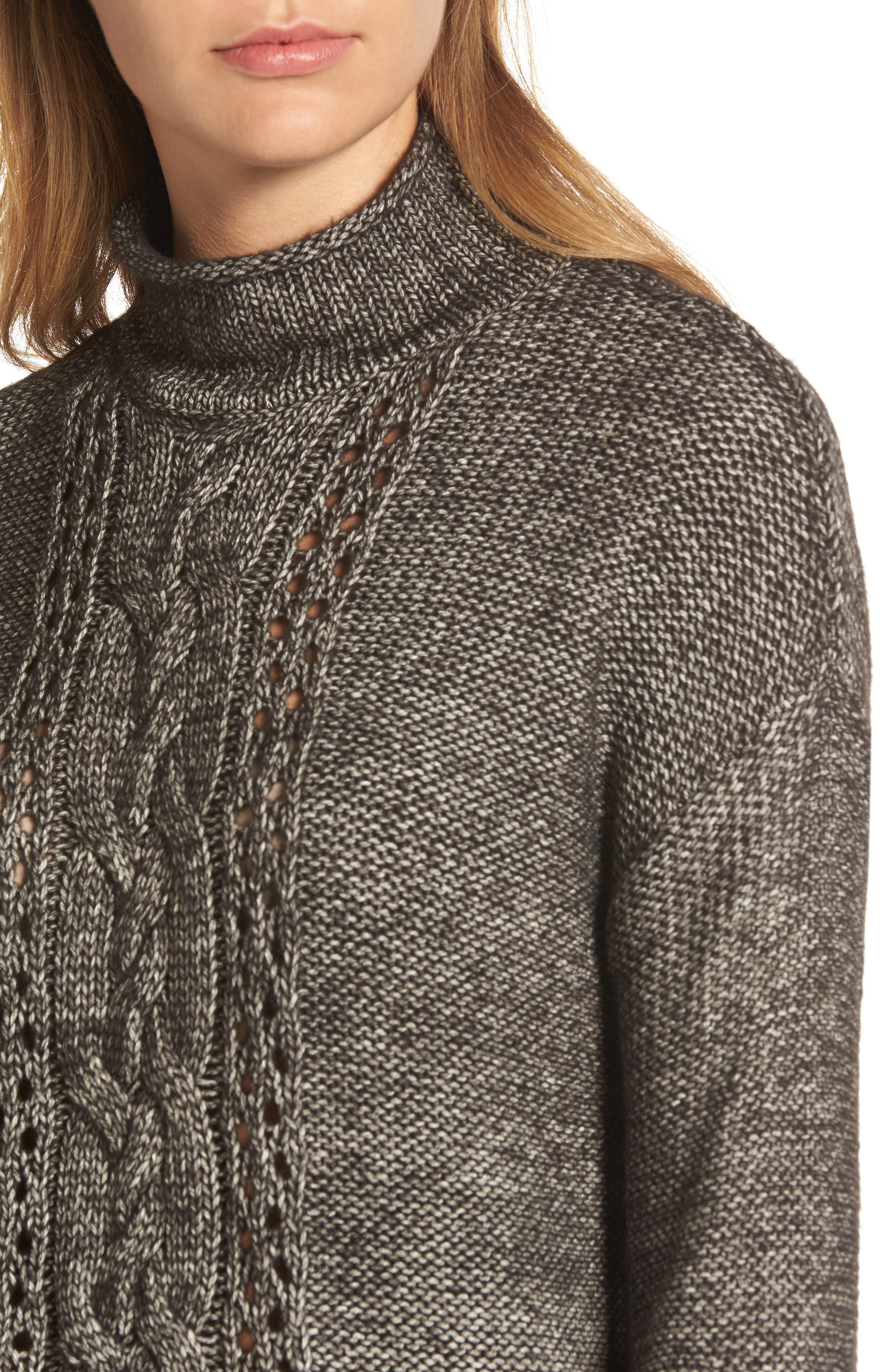Open Cable Knit Funnel Neck Sweater,                             Alternate thumbnail 4, color,                             001