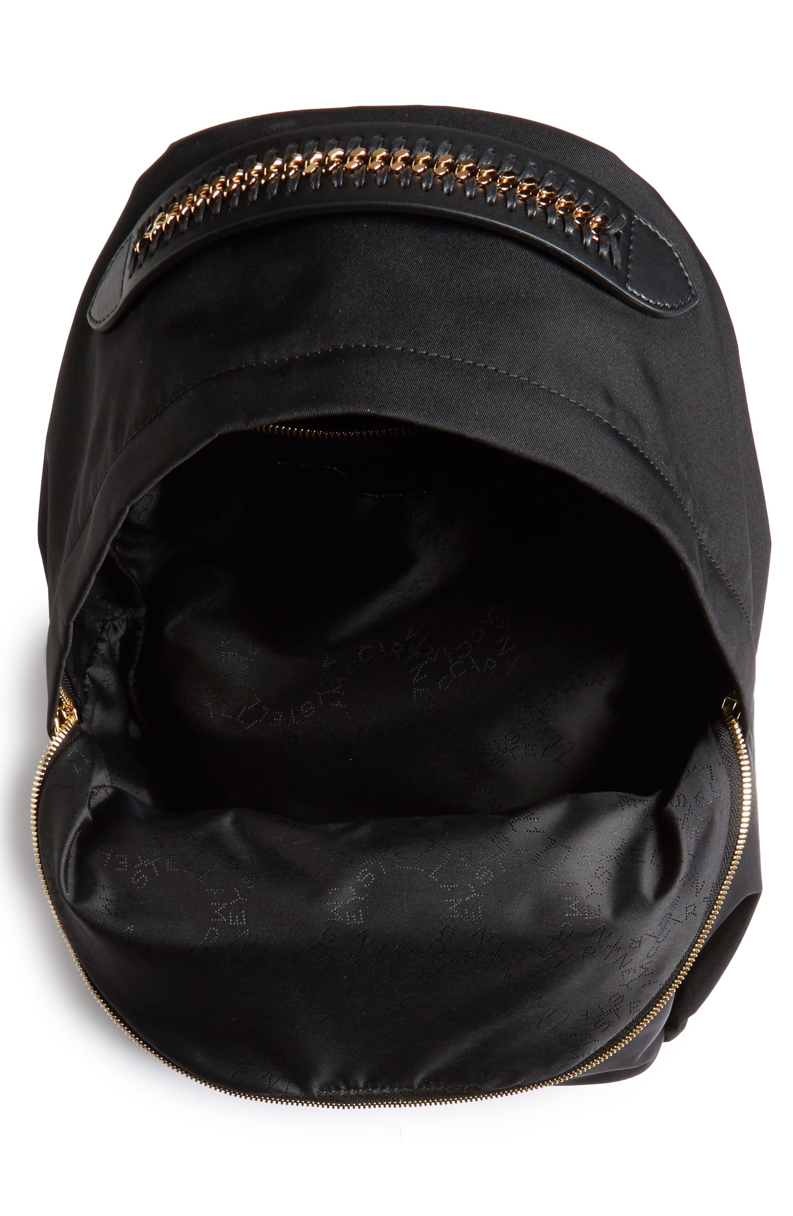 Falabella Nylon Backpack,                             Alternate thumbnail 4, color,                             BLACK