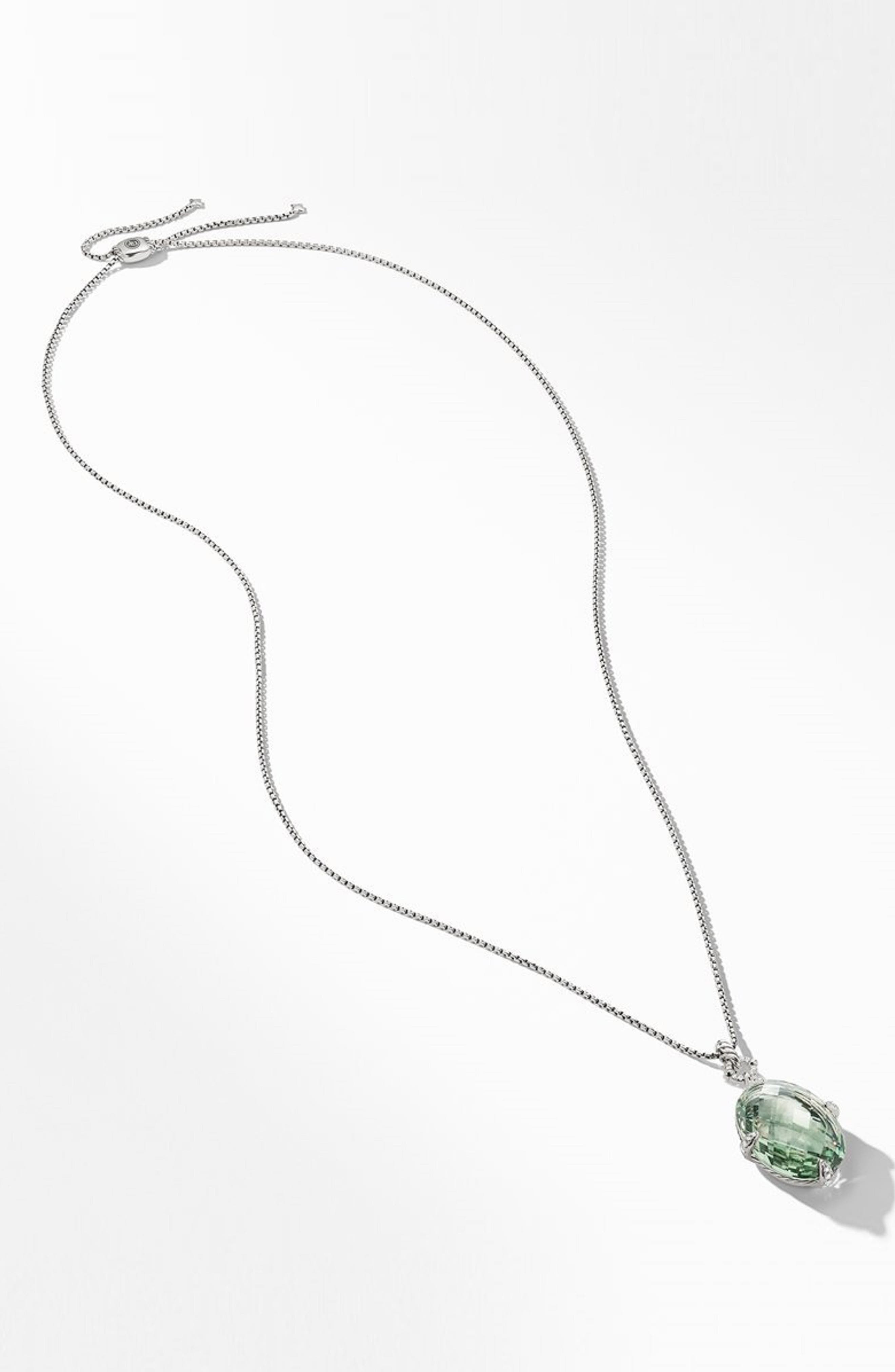 DAVID YURMAN,                             Statement Prasiolite Pendant Necklace with Diamonds,                             Alternate thumbnail 2, color,                             SILVER/ DIAMOND/ PRASIOLITE