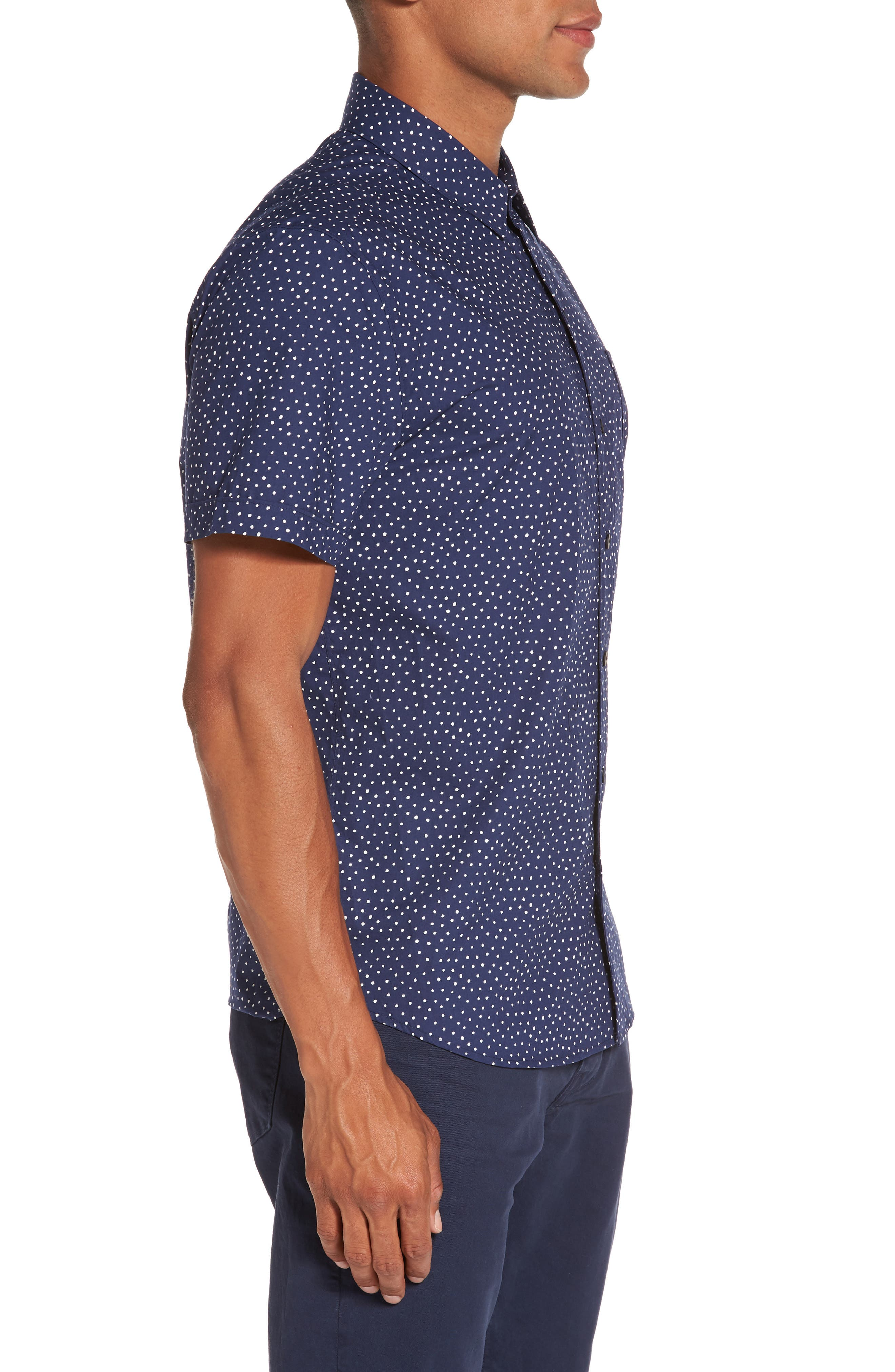 Becker Dot Print Woven Shirt,                             Alternate thumbnail 6, color,