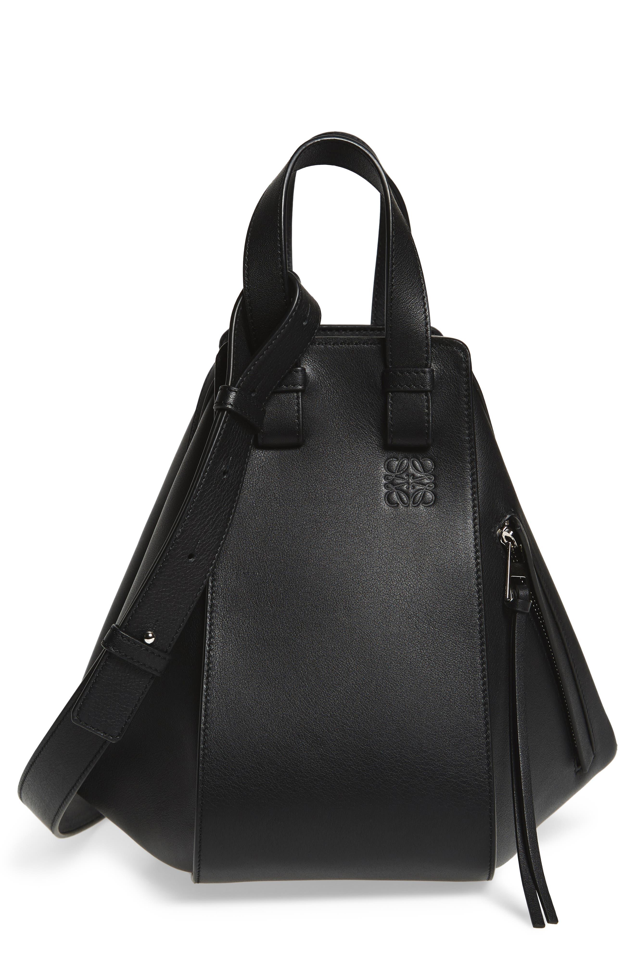 Small Hammock Leather Hobo,                         Main,                         color, BLACK