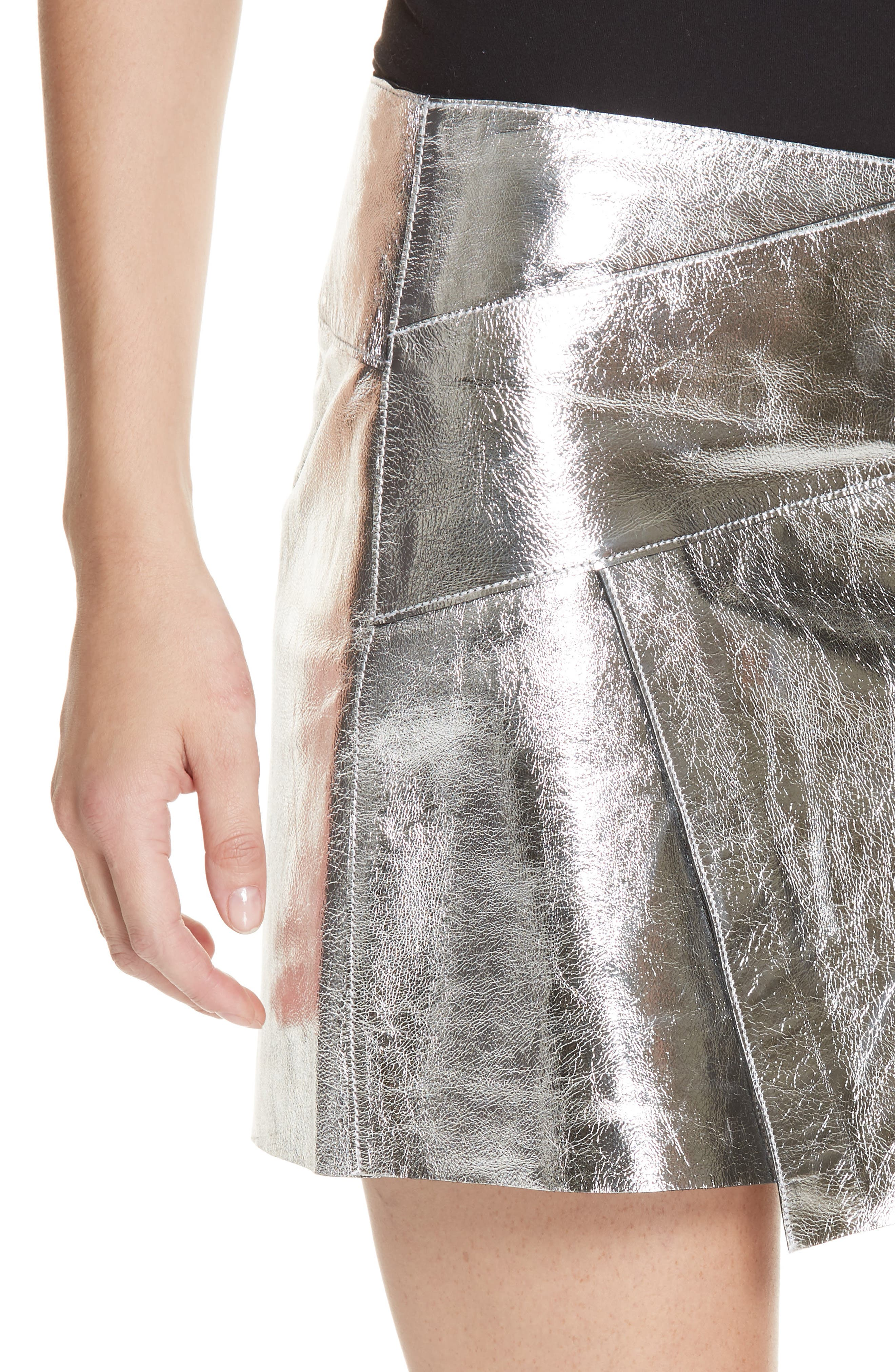Mania Metallic Leather Skirt,                             Alternate thumbnail 4, color,                             GREY