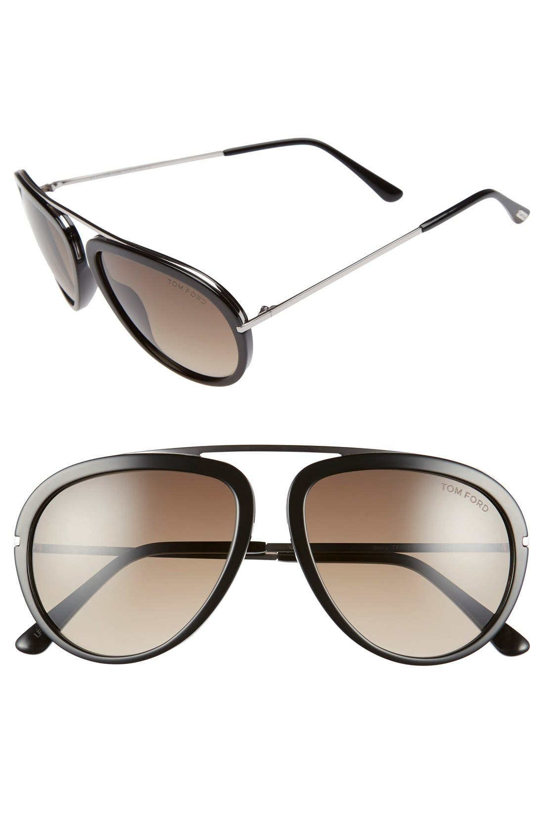 'Stacy' 57mm Sunglasses,                             Main thumbnail 1, color,                             001