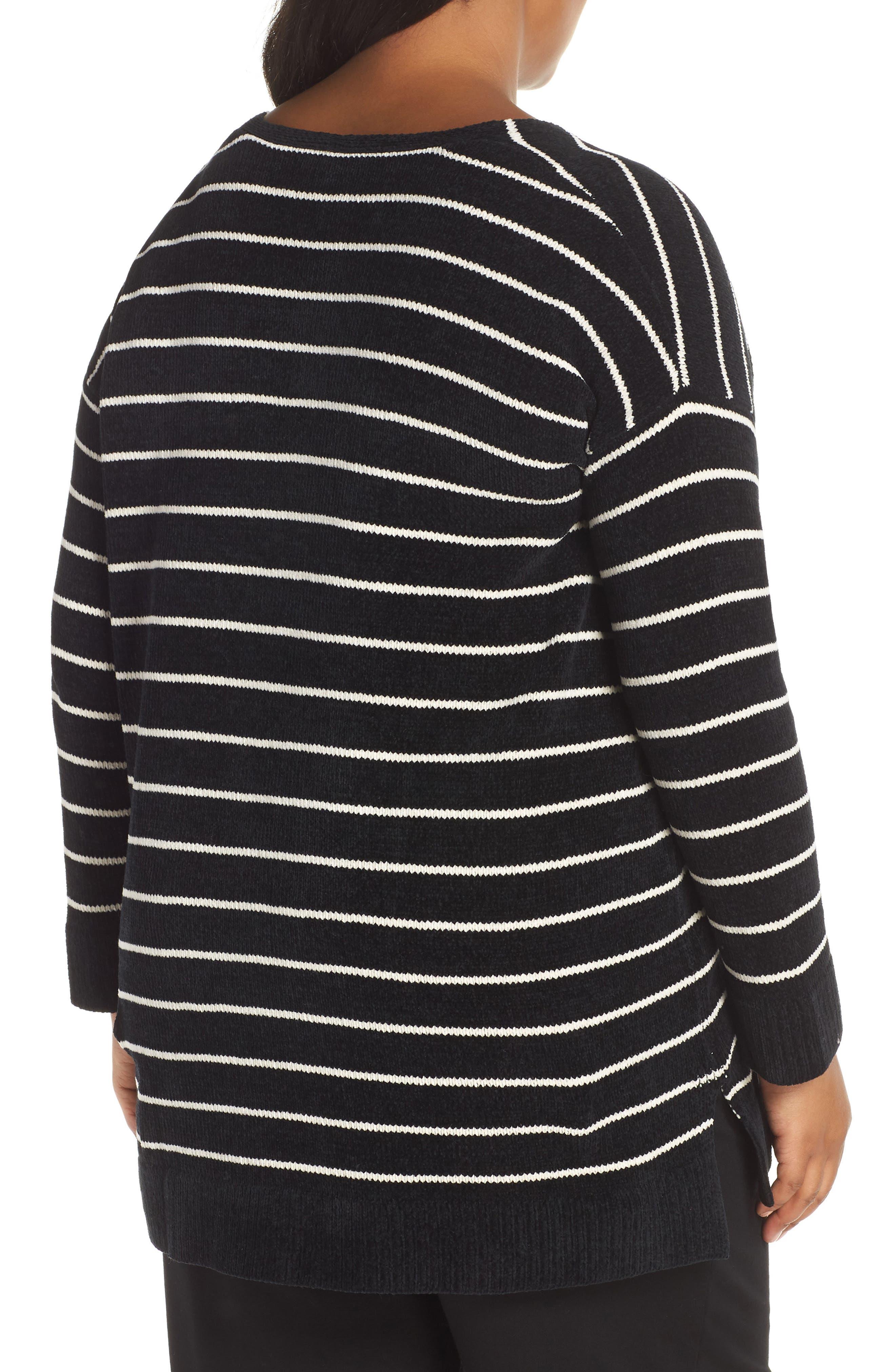 Stripe Organic Cotton Sweater,                             Alternate thumbnail 2, color,                             BLACK/ SOFT WHITE