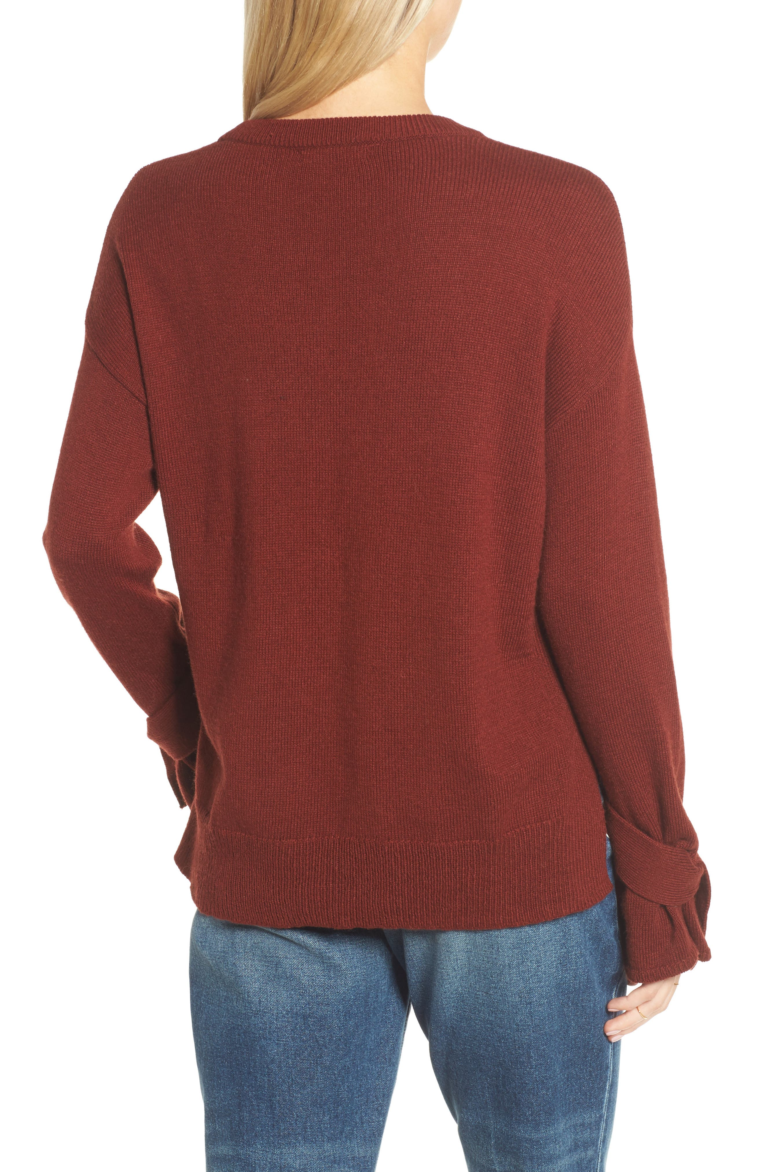 Tie Cuff Pullover Sweater,                             Alternate thumbnail 6, color,