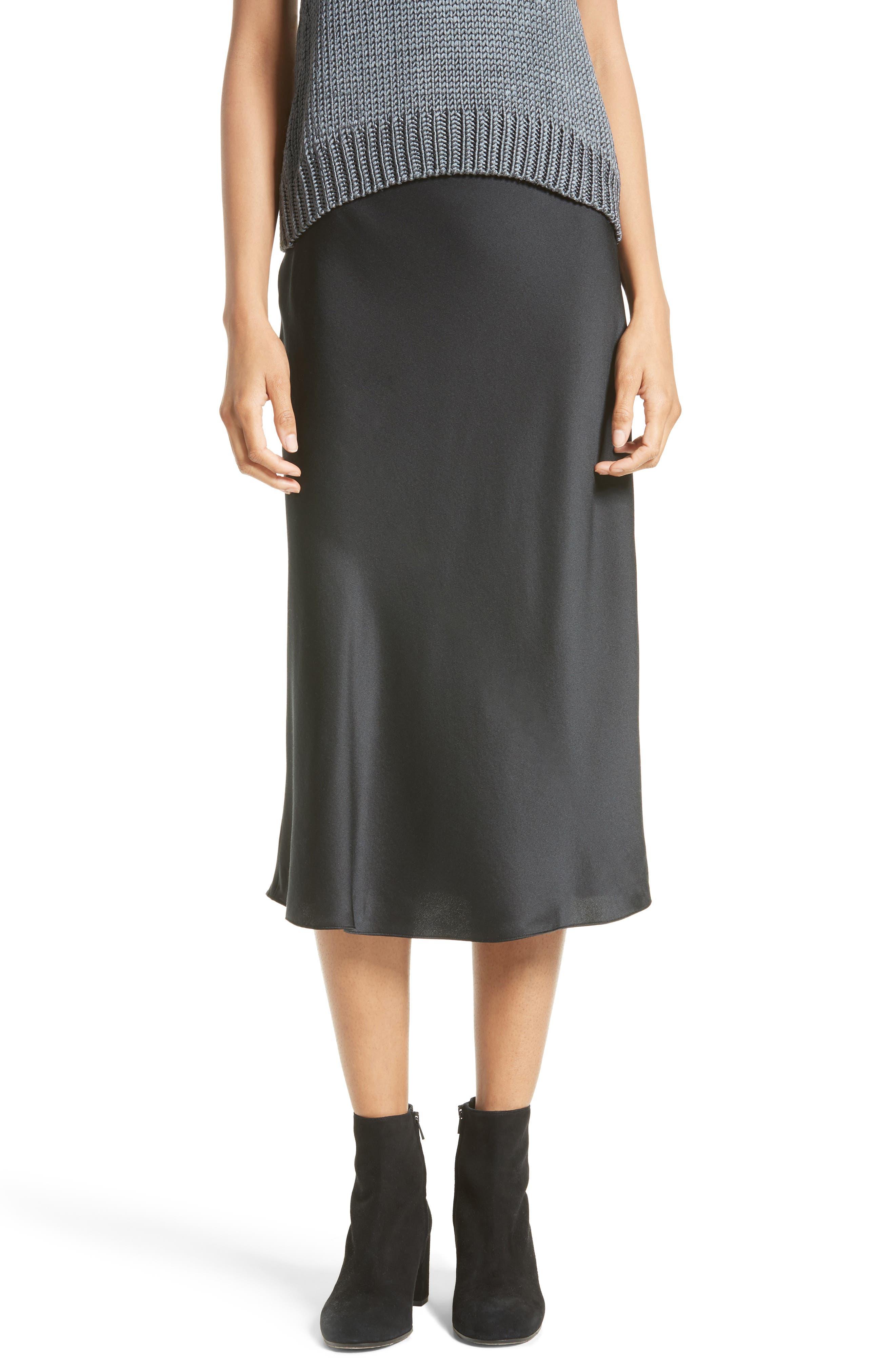 Elastic Waist Slip Skirt,                             Main thumbnail 1, color,                             001