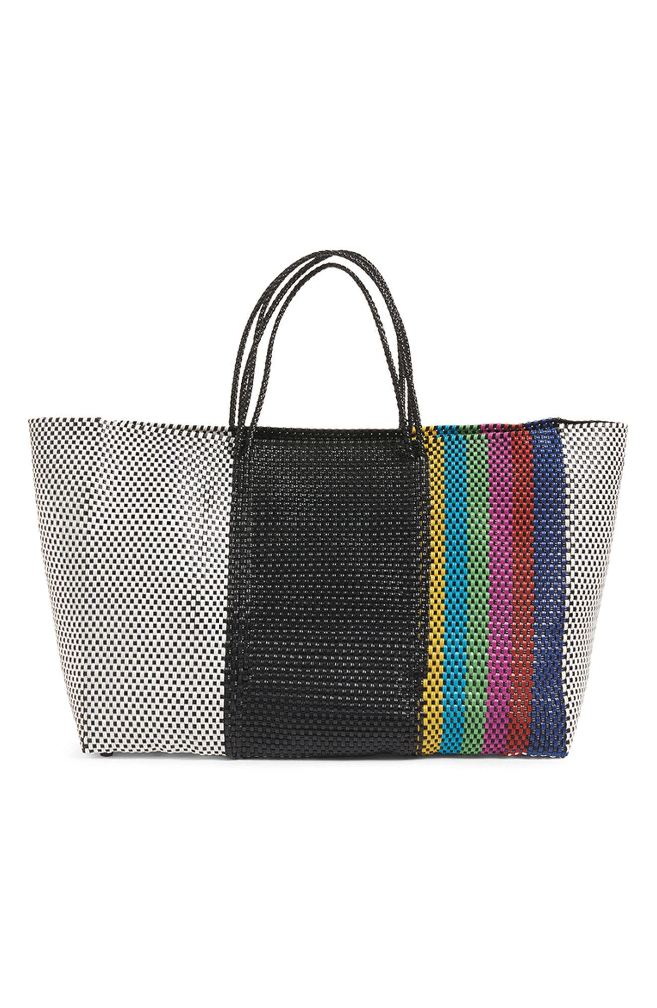 Woven Stripe Weekend Tote,                             Alternate thumbnail 7, color,                             TV COLOR