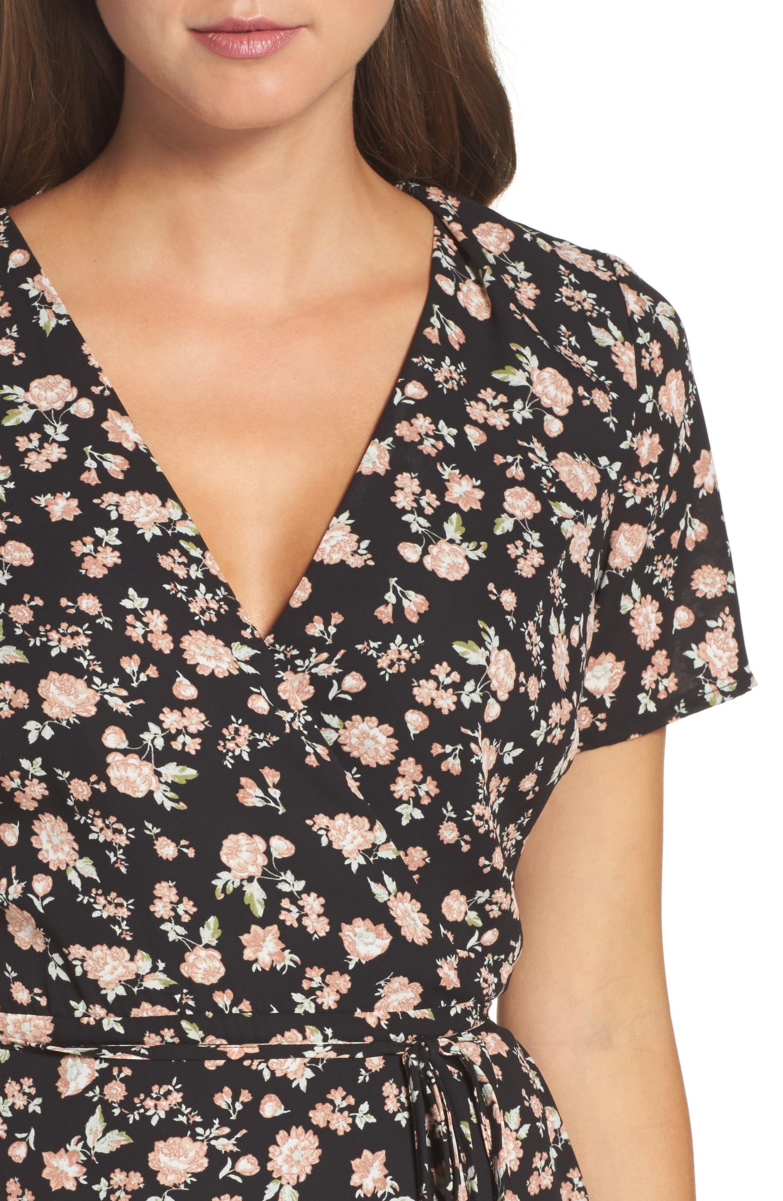 Floral Wrap Dress,                             Alternate thumbnail 4, color,                             001