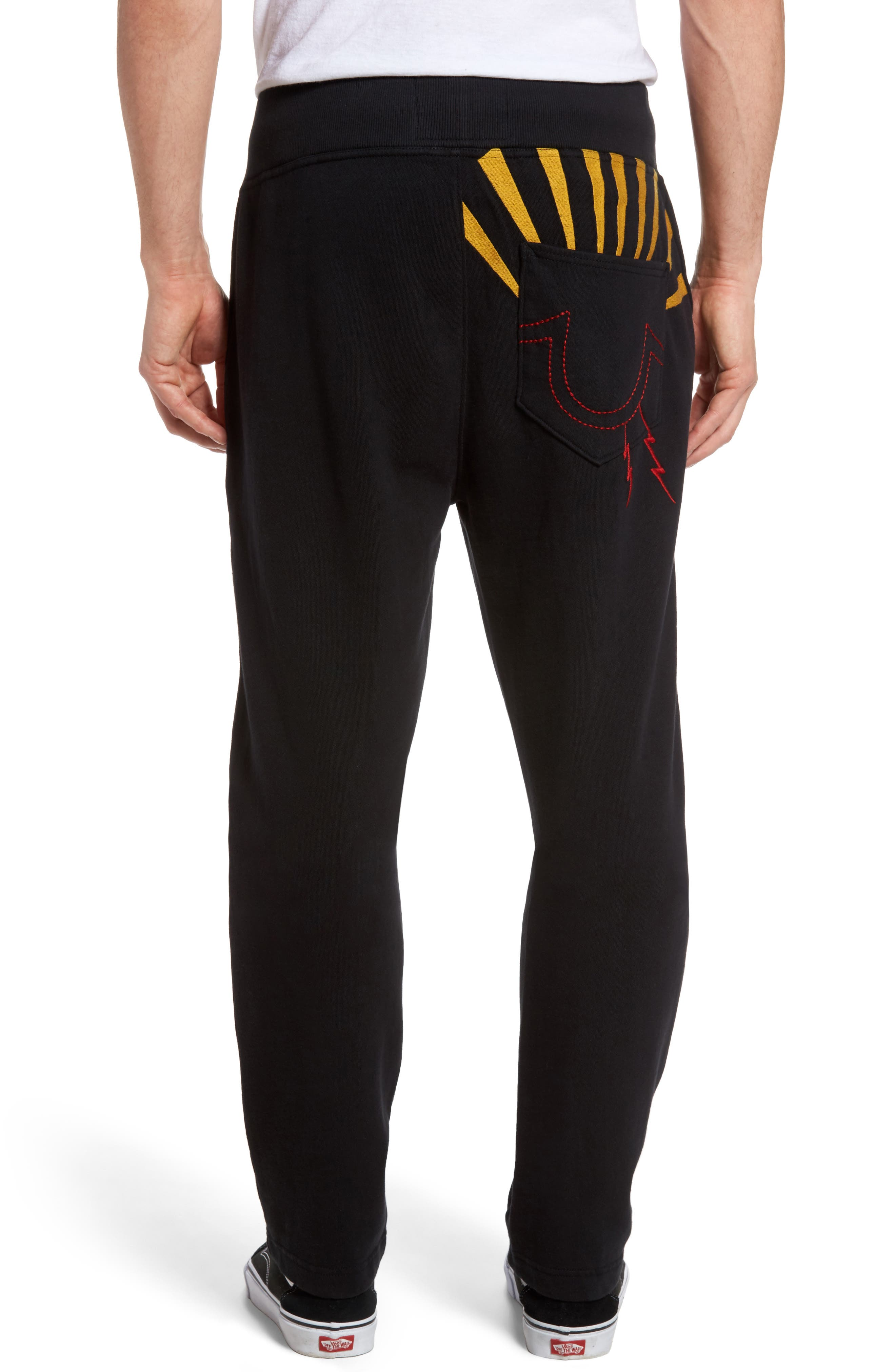 Rising Sun Embroidered Sweatpants,                             Alternate thumbnail 2, color,                             001