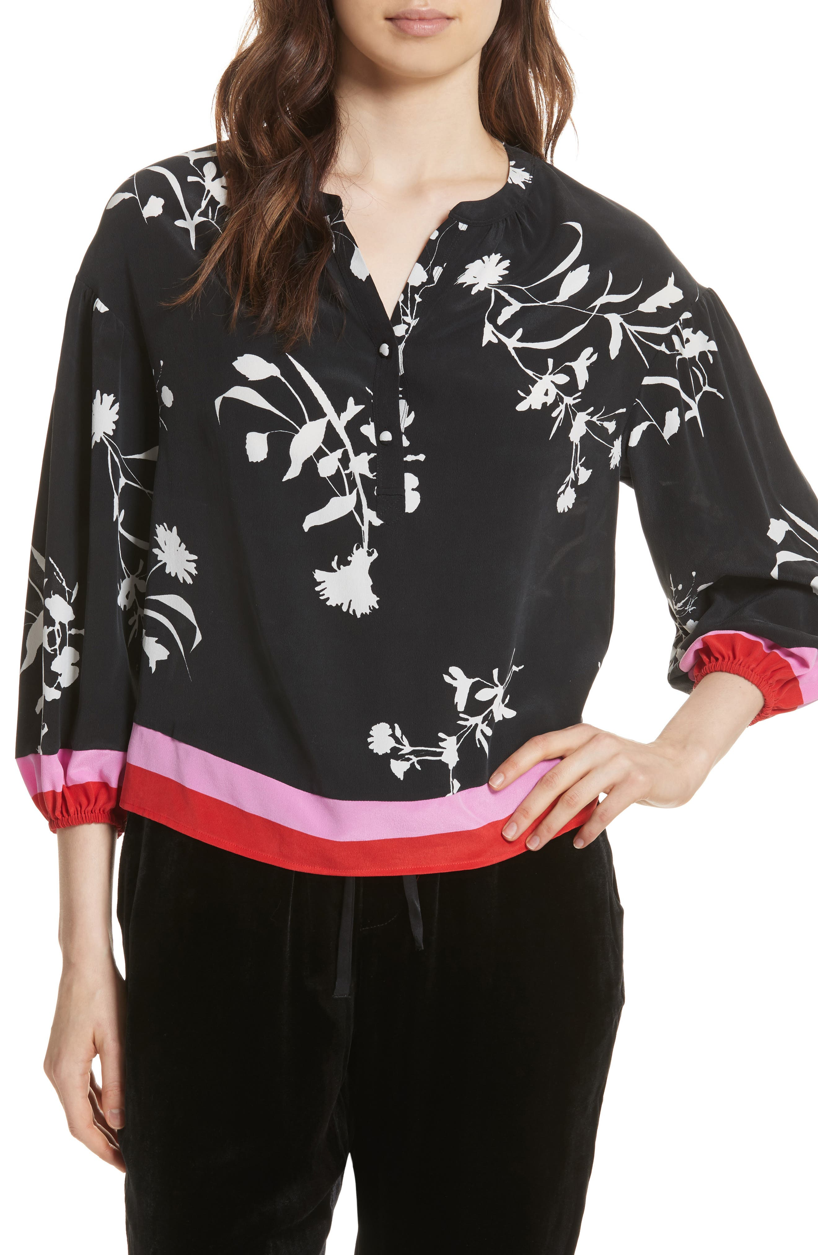 Eilga Floral Silk Blouse,                             Main thumbnail 1, color,