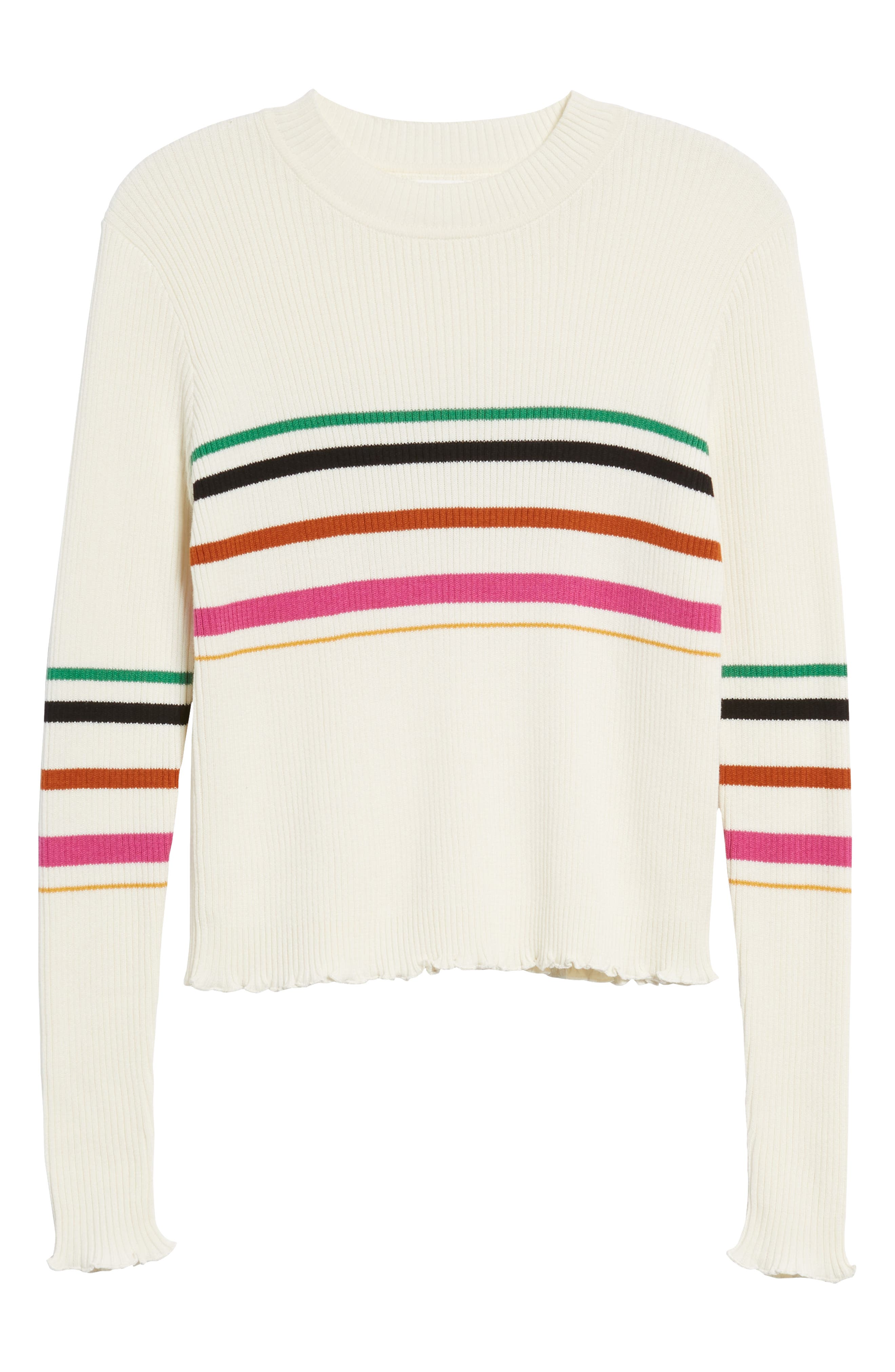 Lettuce Edge Multi Stripe Sweater,                             Alternate thumbnail 6, color,                             IVORY RILEY STRIPE