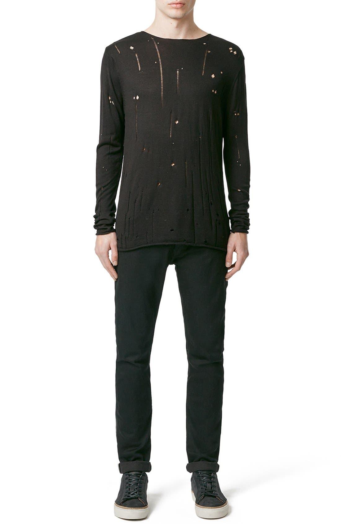 Moth Distressed Long Sleeve Knit T-Shirt,                             Alternate thumbnail 4, color,                             001