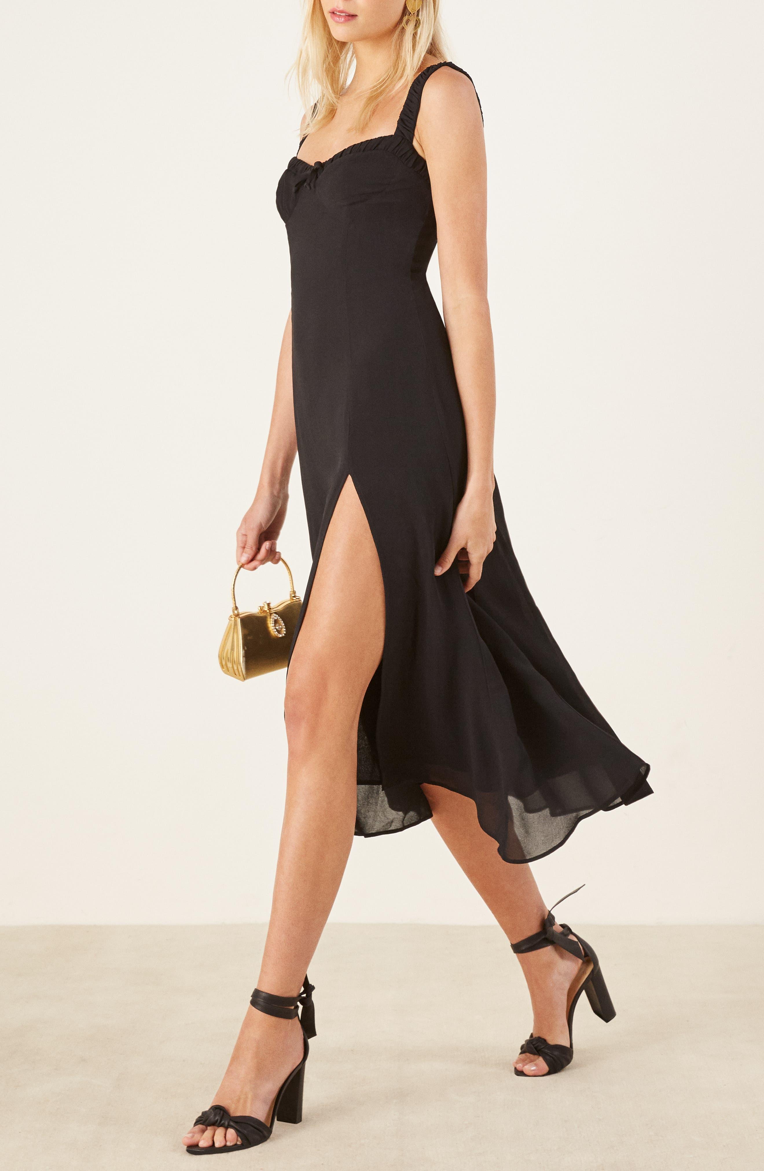 Peridot Side Slit Dress,                             Alternate thumbnail 4, color,                             BLACK