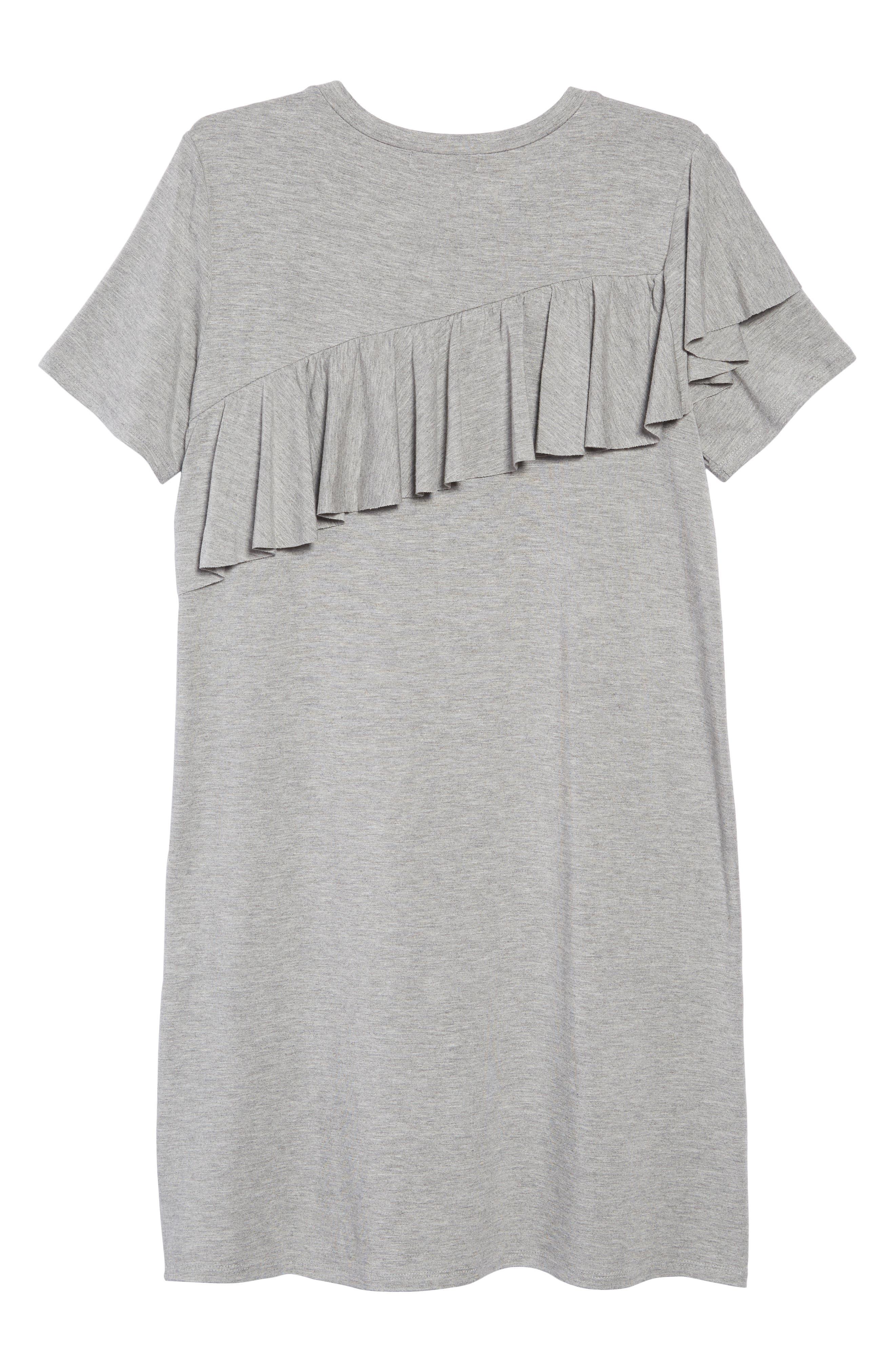 Asymmetrical Ruffle T-Shirt Dress,                             Alternate thumbnail 2, color,                             030