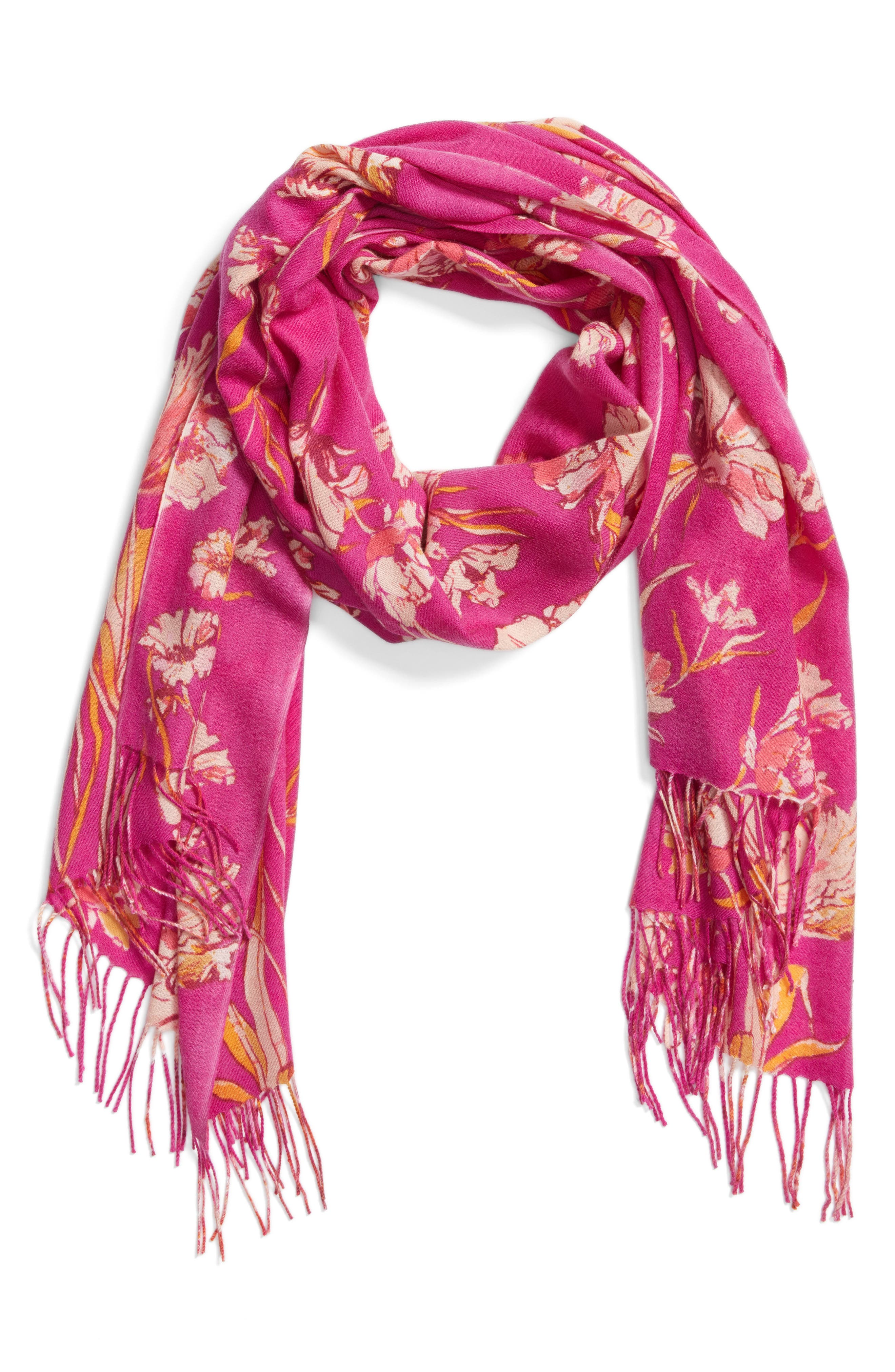 Cambridge Print Wool & Cashmere Scarf,                             Alternate thumbnail 6, color,