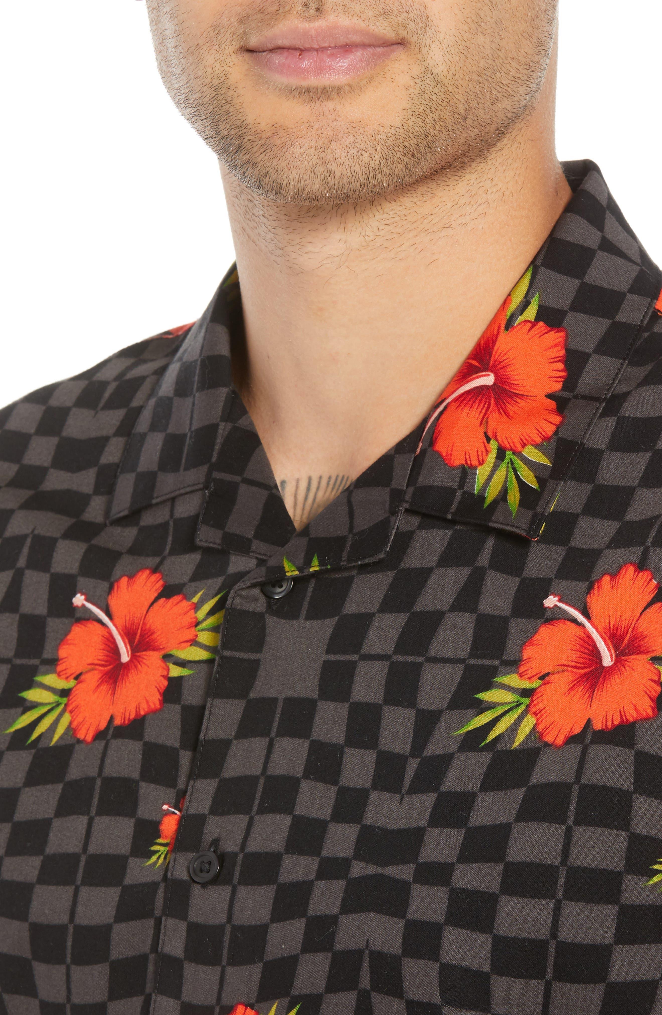 VANS,                             Warp Tropic Checks Camp Shirt,                             Alternate thumbnail 4, color,                             001