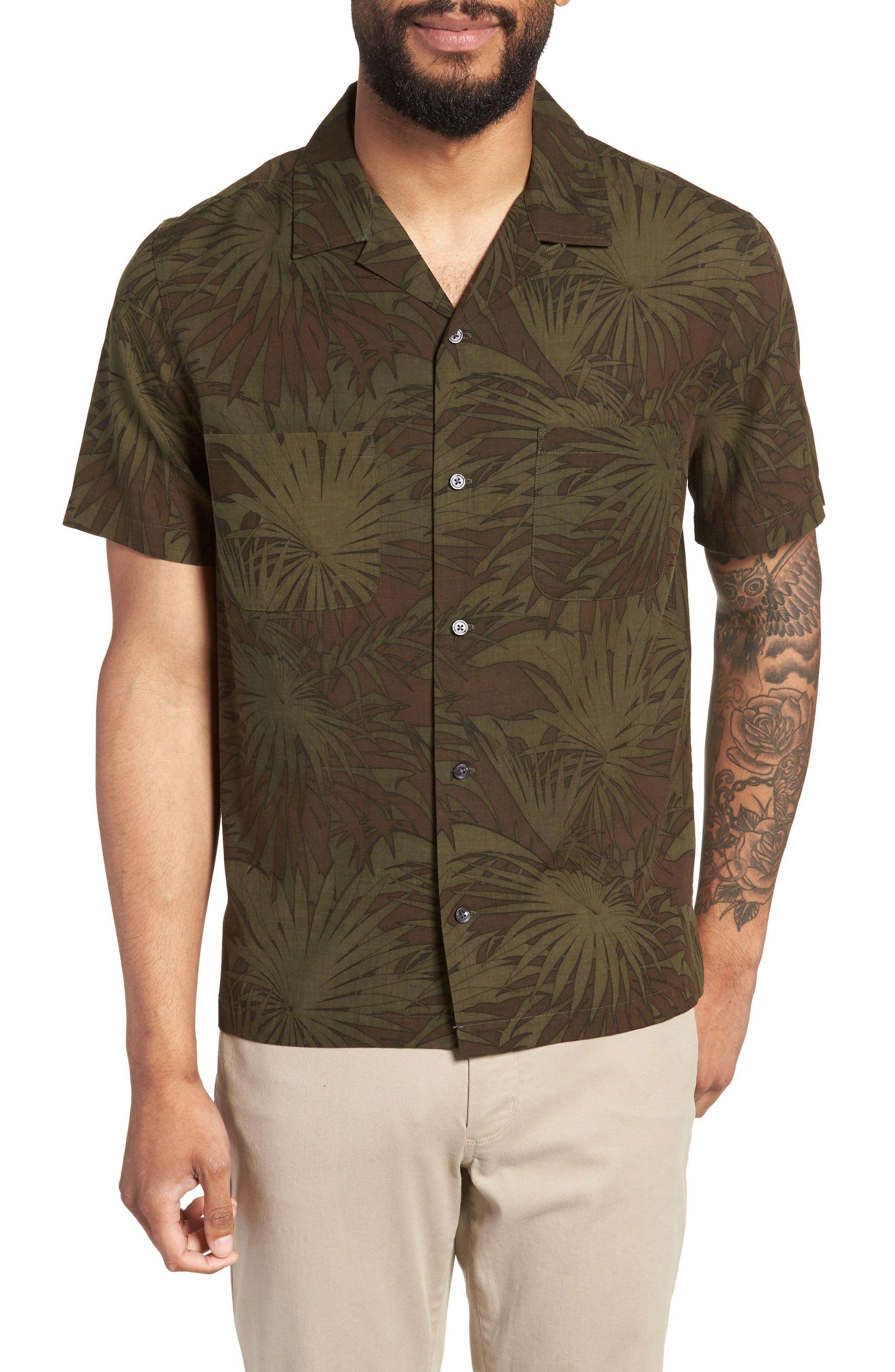 Palm Leaf Cabana Woven Shirt,                             Main thumbnail 1, color,                             FOLIAGE/ DRIED HERB