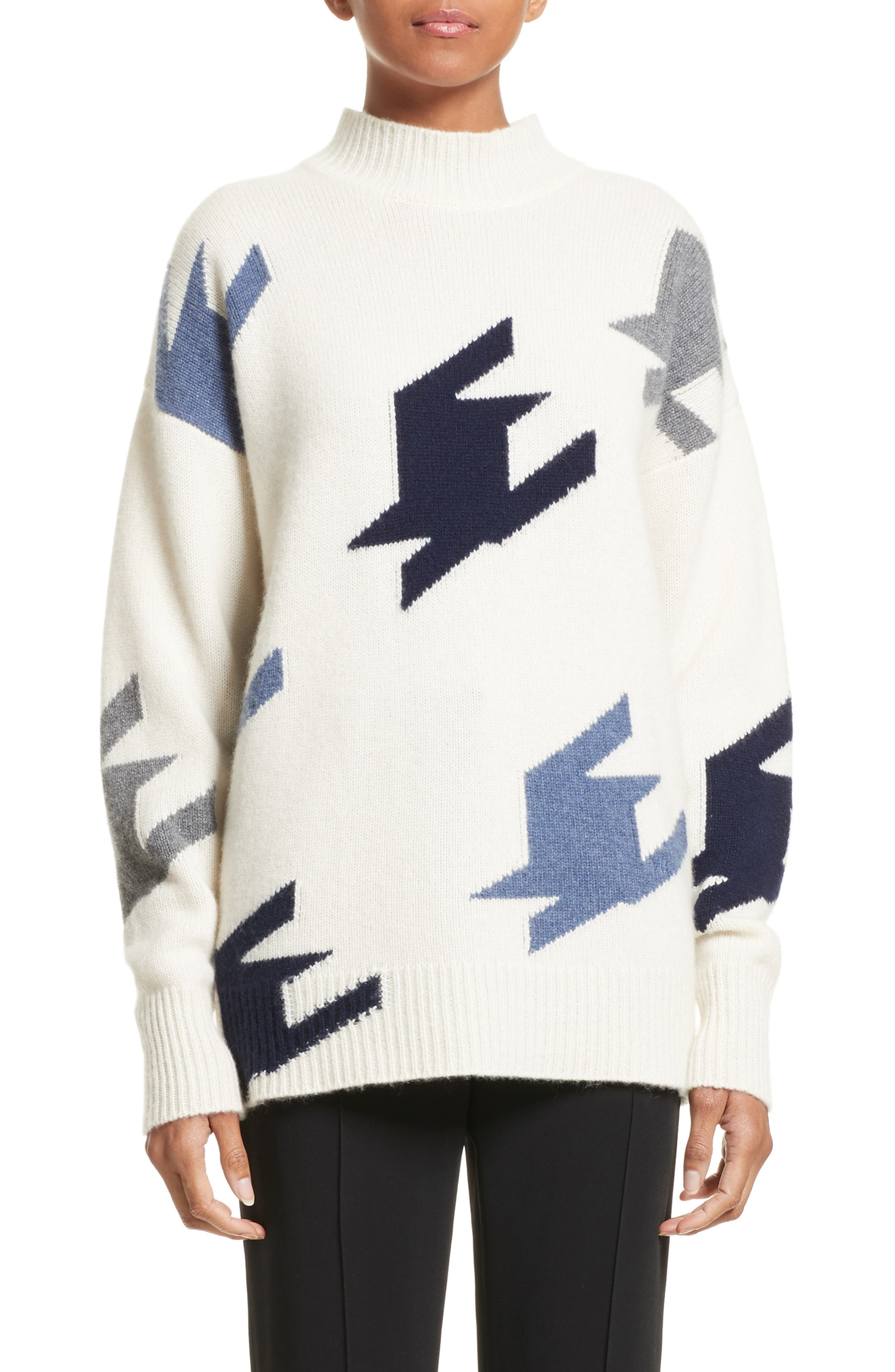 VICTORIA BECKHAM,                             Houndstooth Cashmere Sweater,                             Main thumbnail 1, color,                             905
