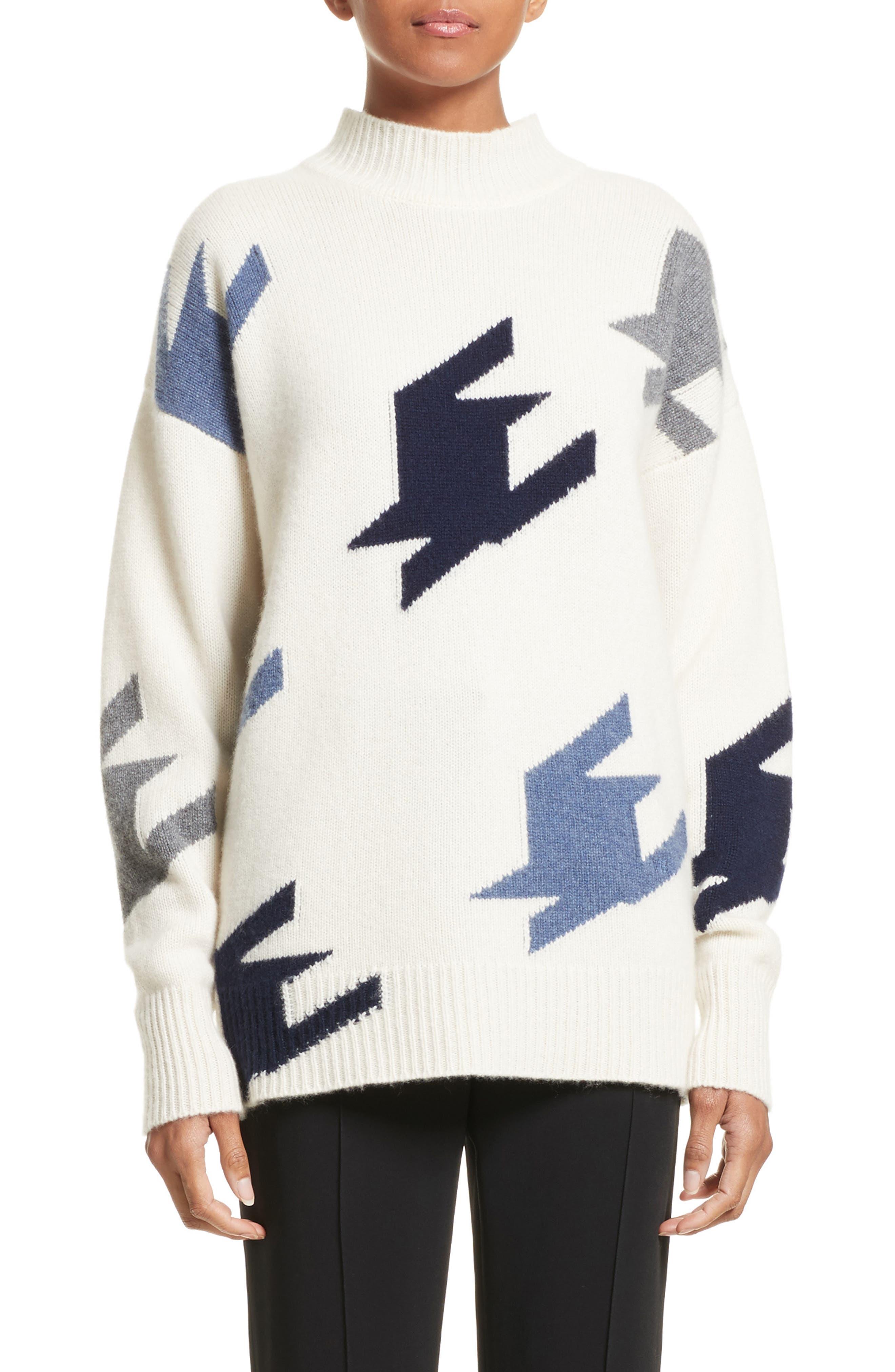 VICTORIA BECKHAM Houndstooth Cashmere Sweater, Main, color, 905