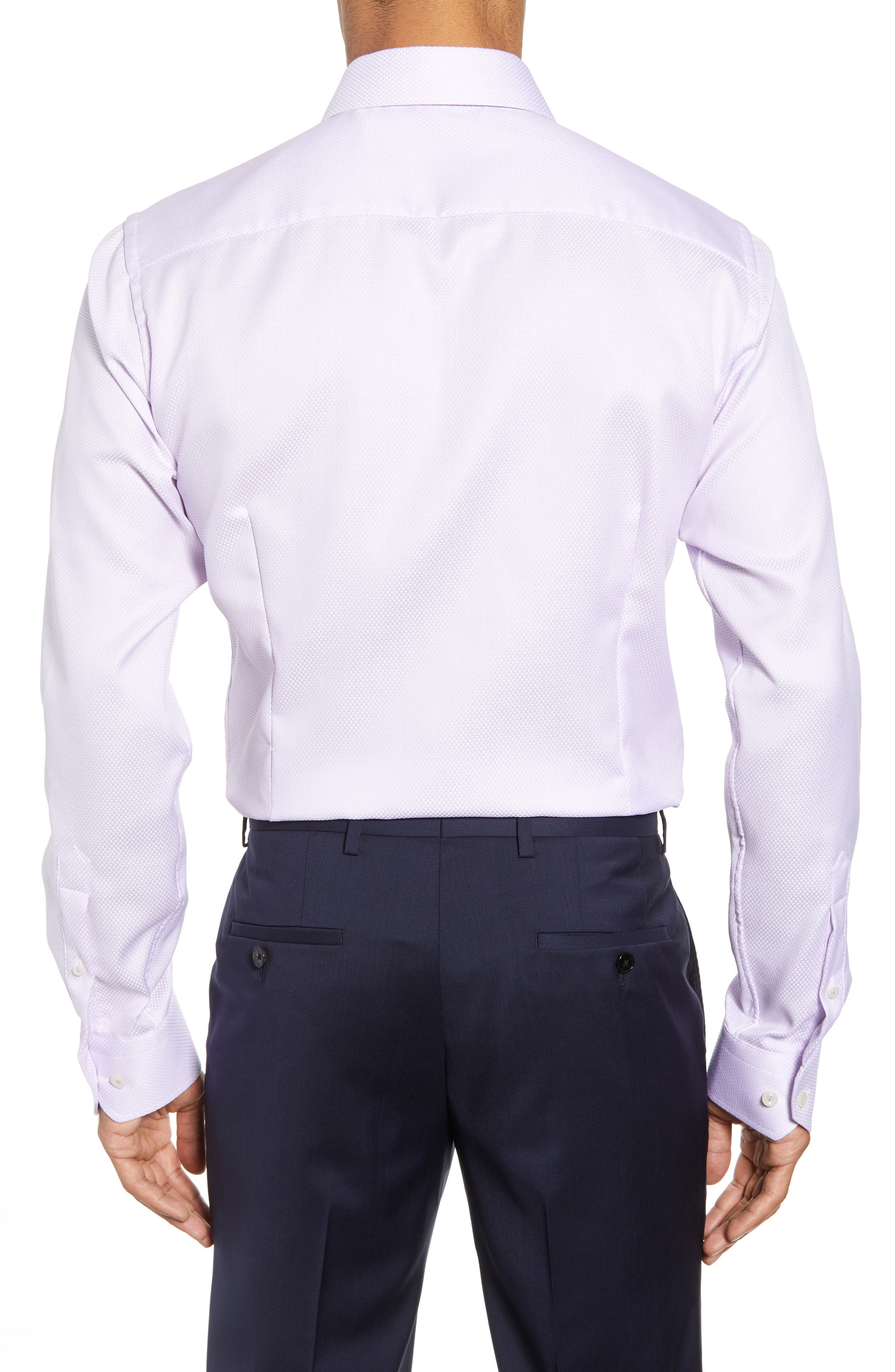Slim Fit Textured Solid Dress Shirt,                             Alternate thumbnail 3, color,                             PURPLE
