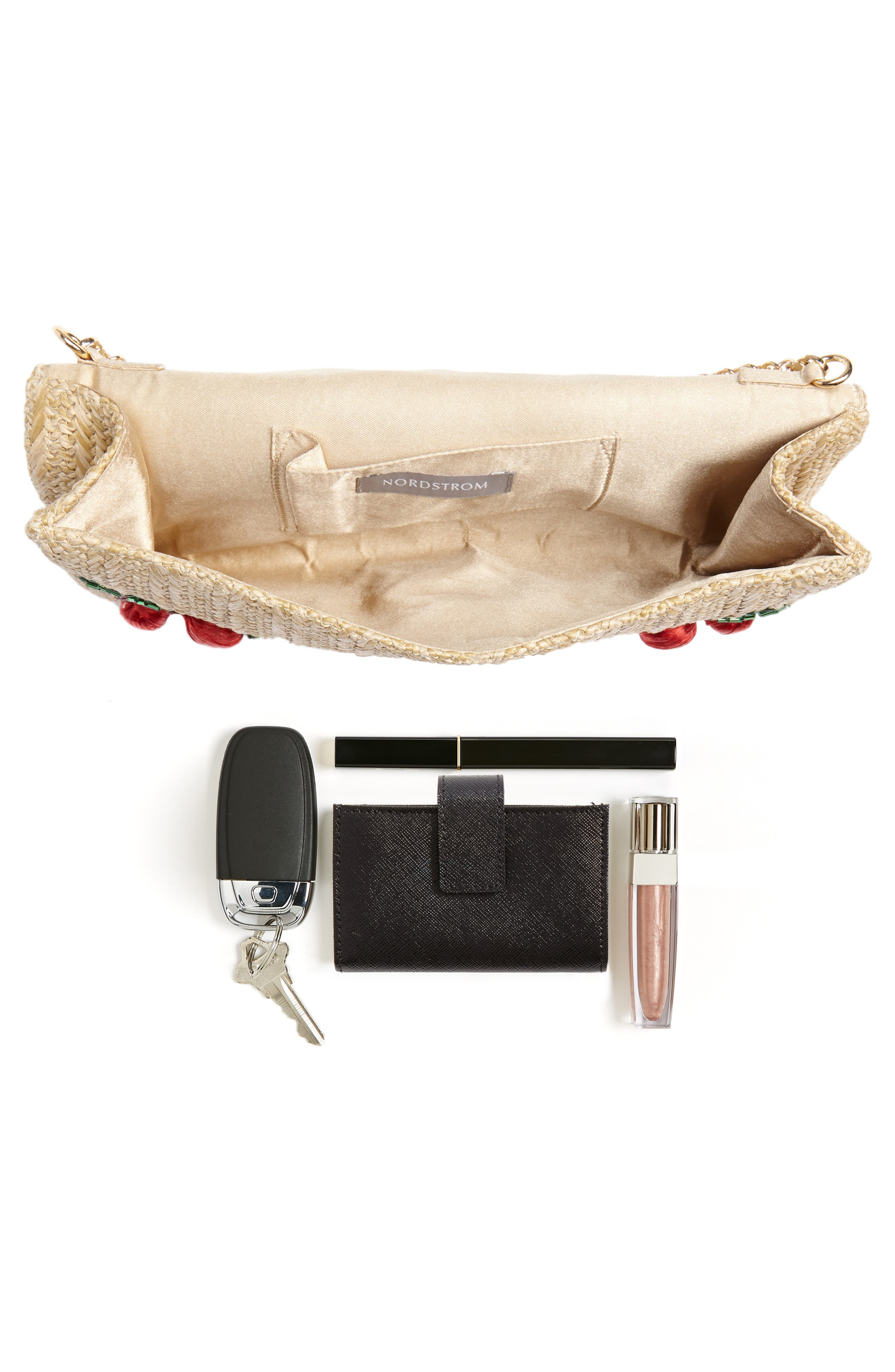 Cherry Embellished Straw Envelope Clutch,                             Alternate thumbnail 7, color,                             NATURAL