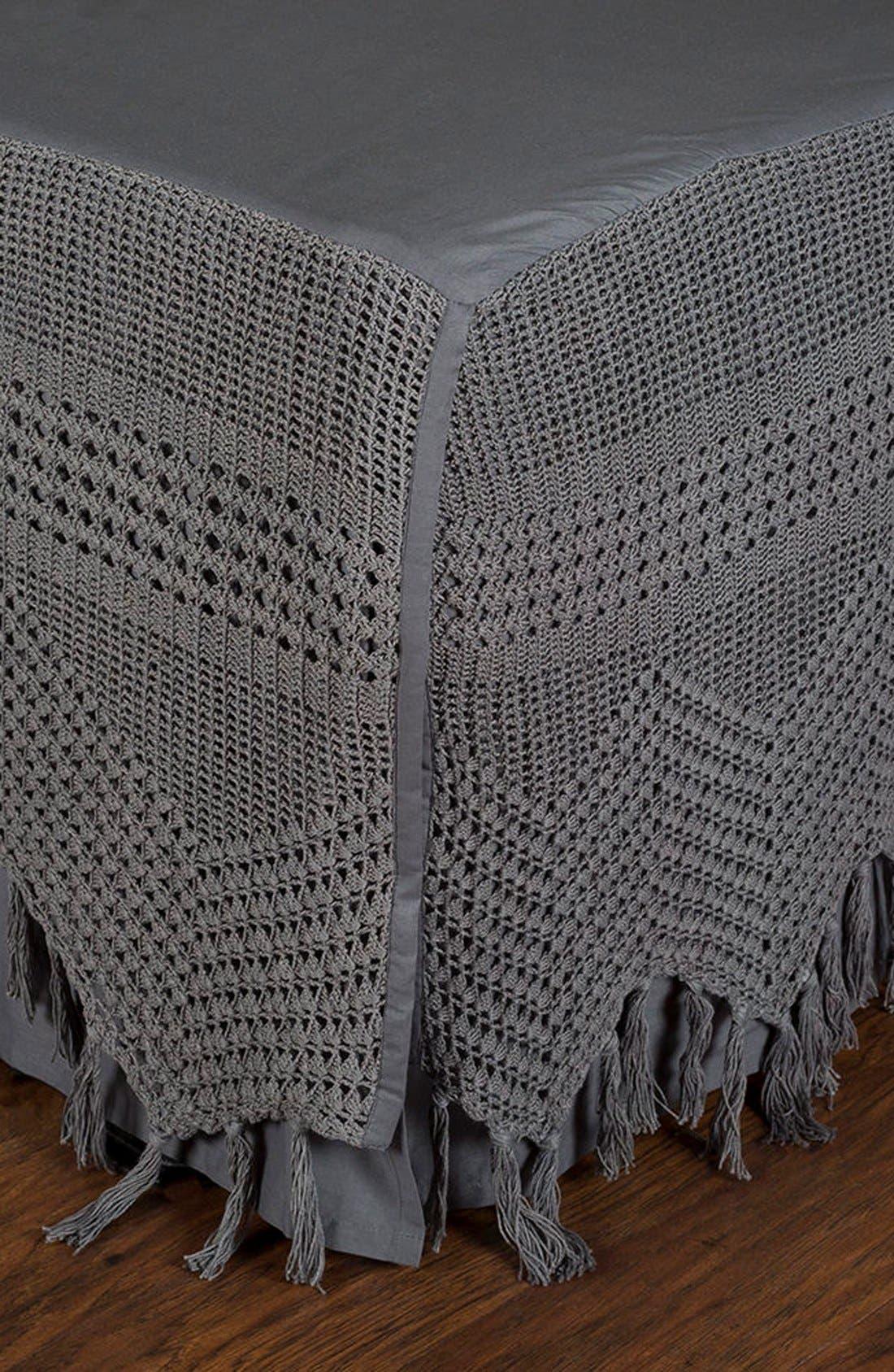 King Crochet Bed Skirt,                             Main thumbnail 1, color,                             050