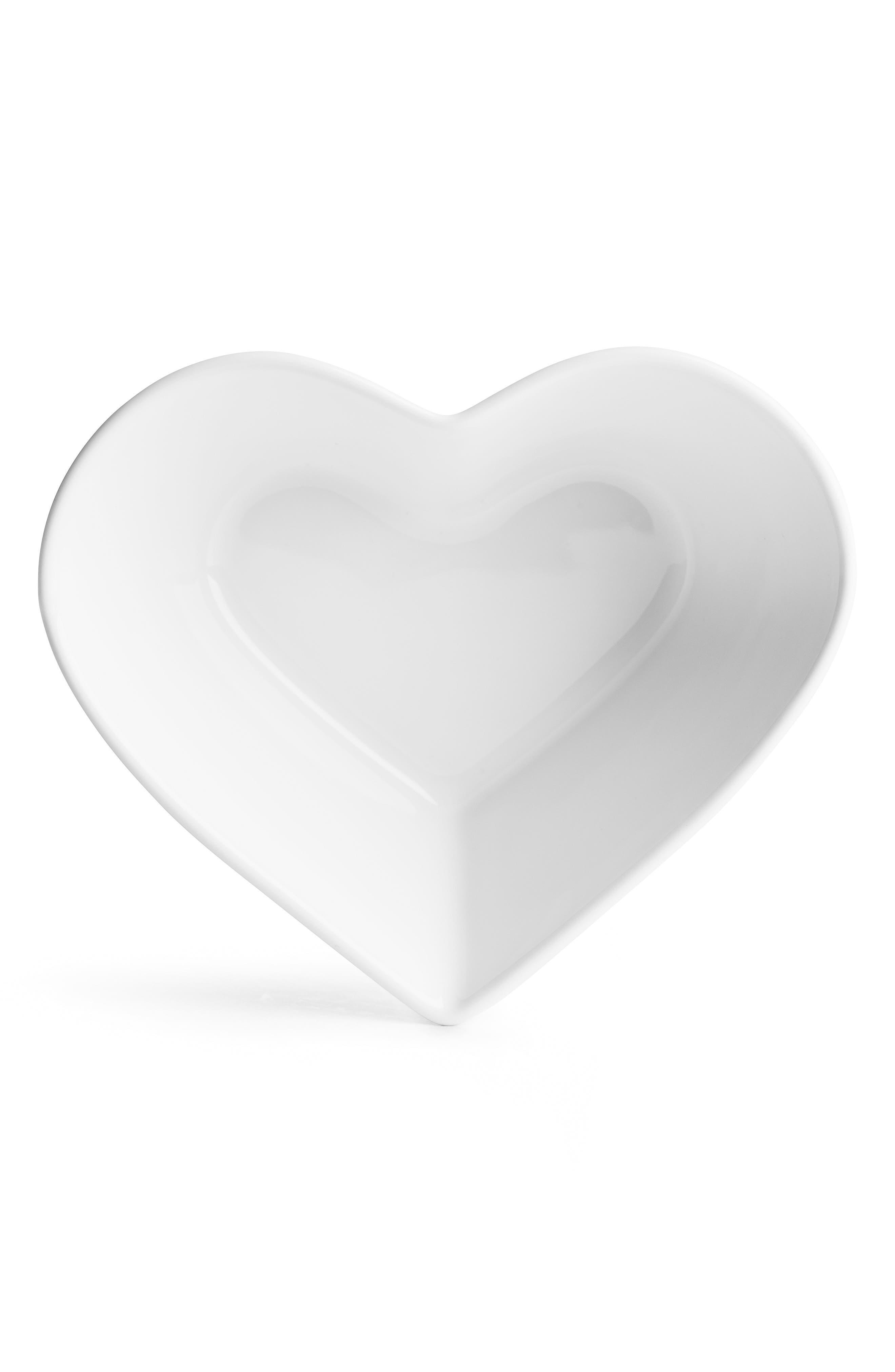 Heart Serving Bowl,                             Main thumbnail 1, color,                             WHITE
