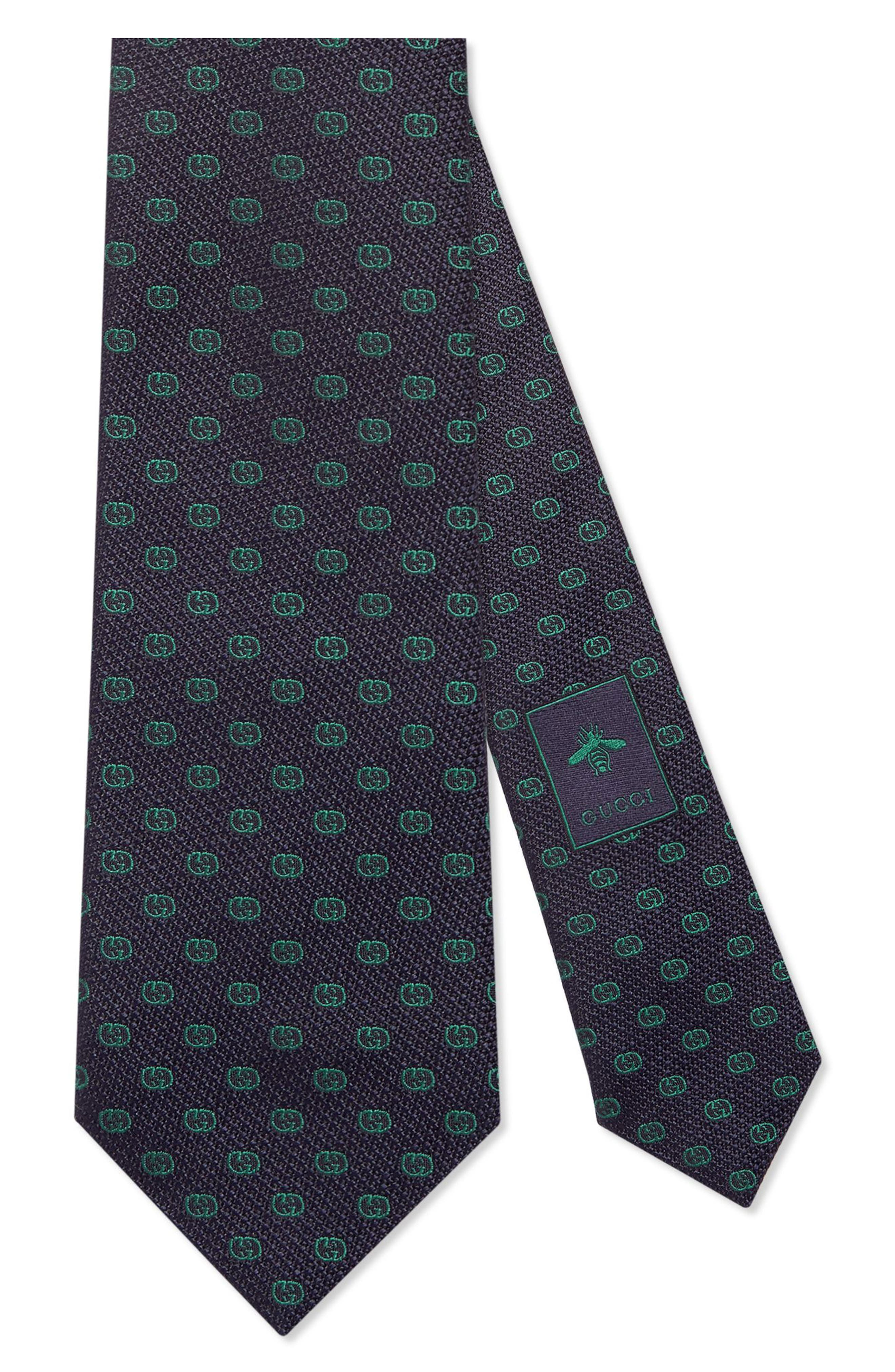 GG Tinev Silk Jacquard Tie,                         Main,                         color, 4066 MIDNIGHT GREEN