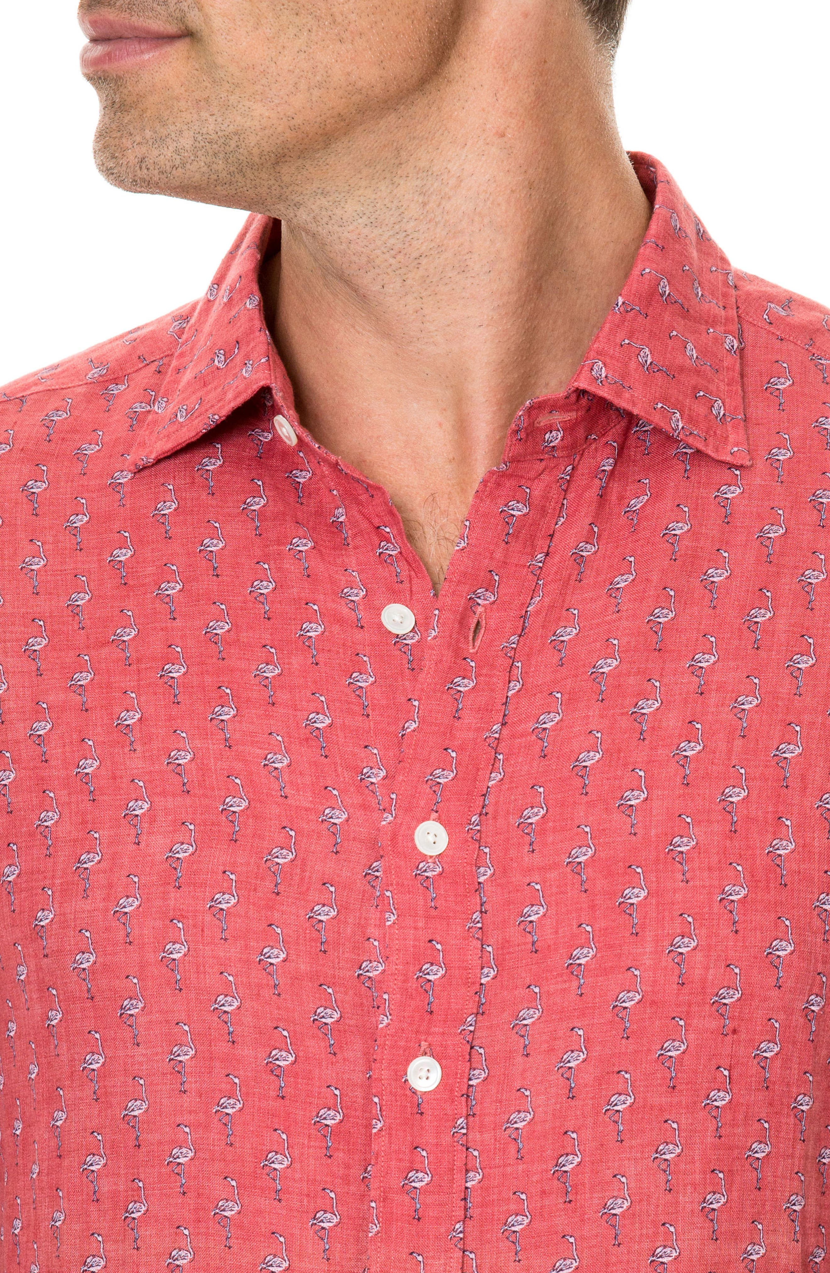 Hans Bay Sports Fit Flamingo Print Sport Shirt,                             Alternate thumbnail 3, color,                             CORAL