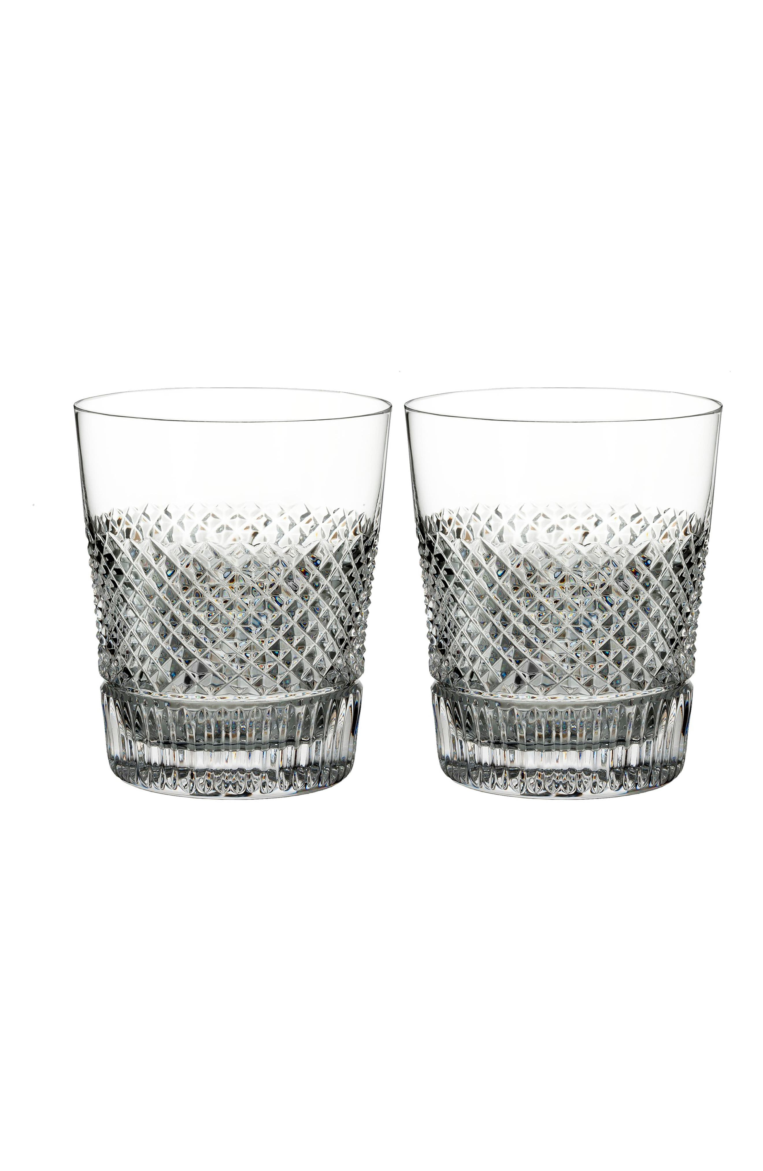 Diamond Line Set of 2 Leaded Crystal Double Old Fashioned Glasses,                             Main thumbnail 1, color,                             DIAMOND LINE