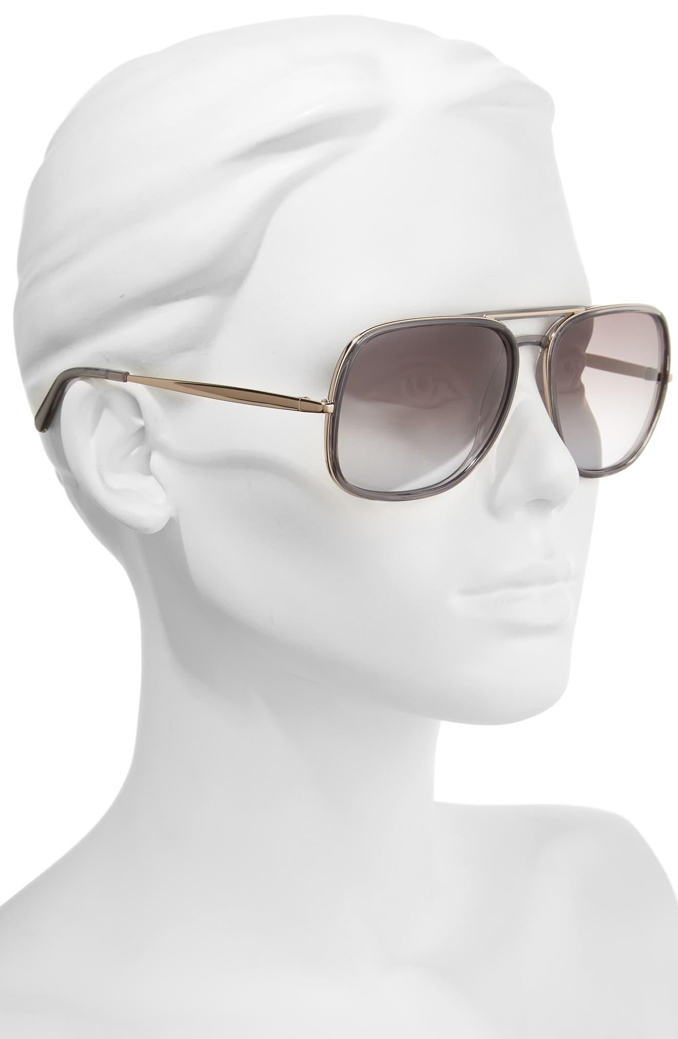 60mm Gradient Lens Navigator Sunglasses,                             Alternate thumbnail 2, color,                             020