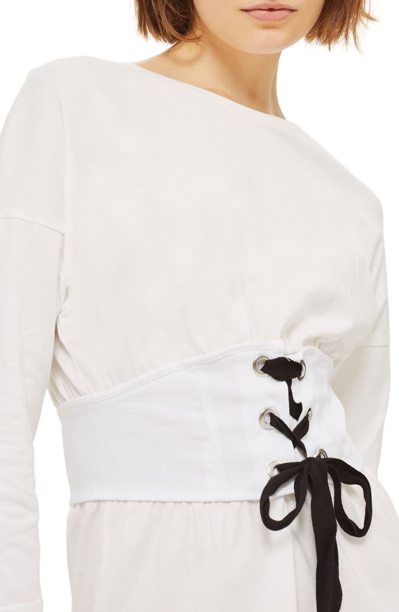 Corset T-Shirt Dress,                             Alternate thumbnail 3, color,                             900