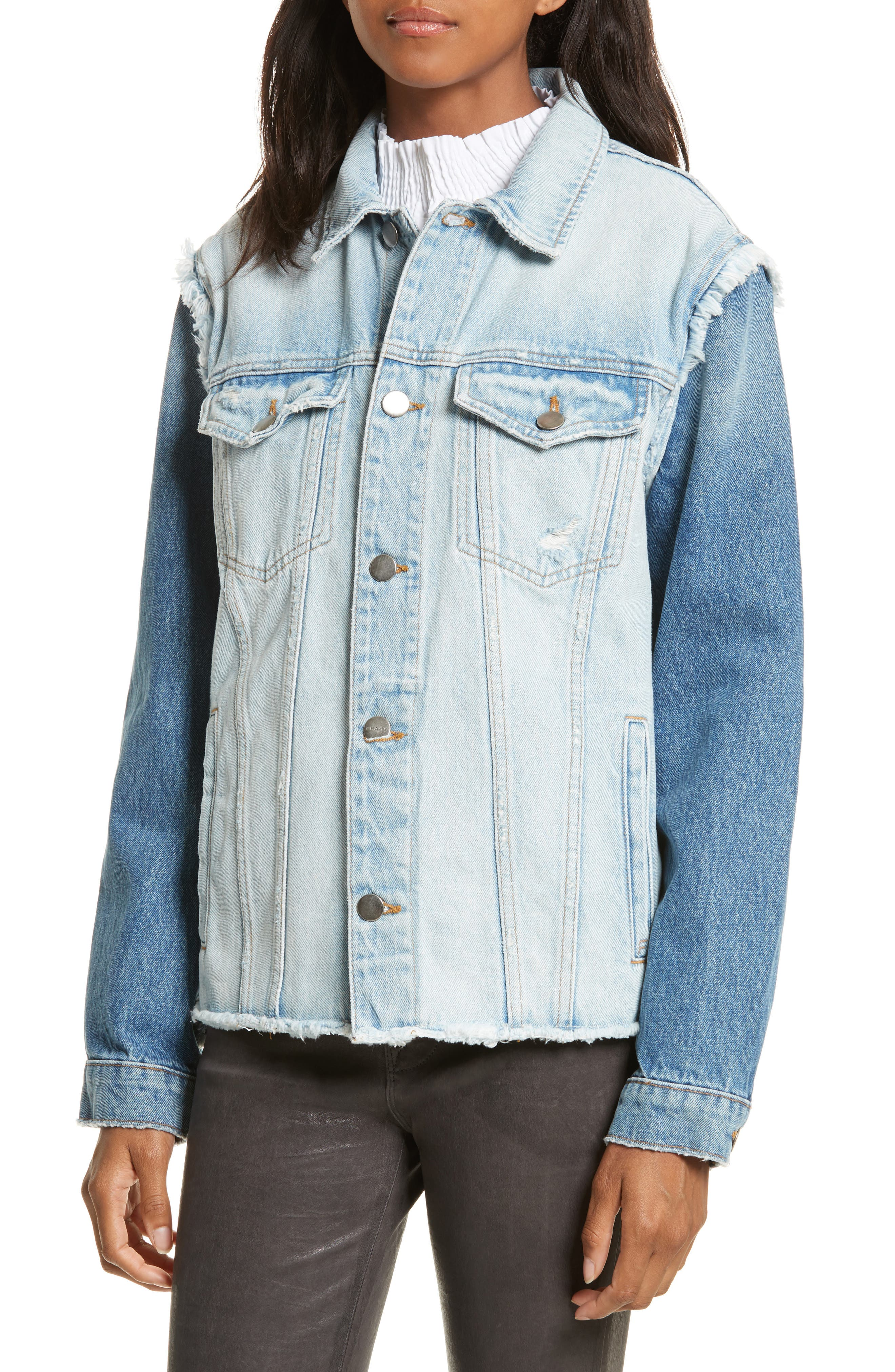 Le Reconstructed Denim Jacket,                             Alternate thumbnail 4, color,                             451